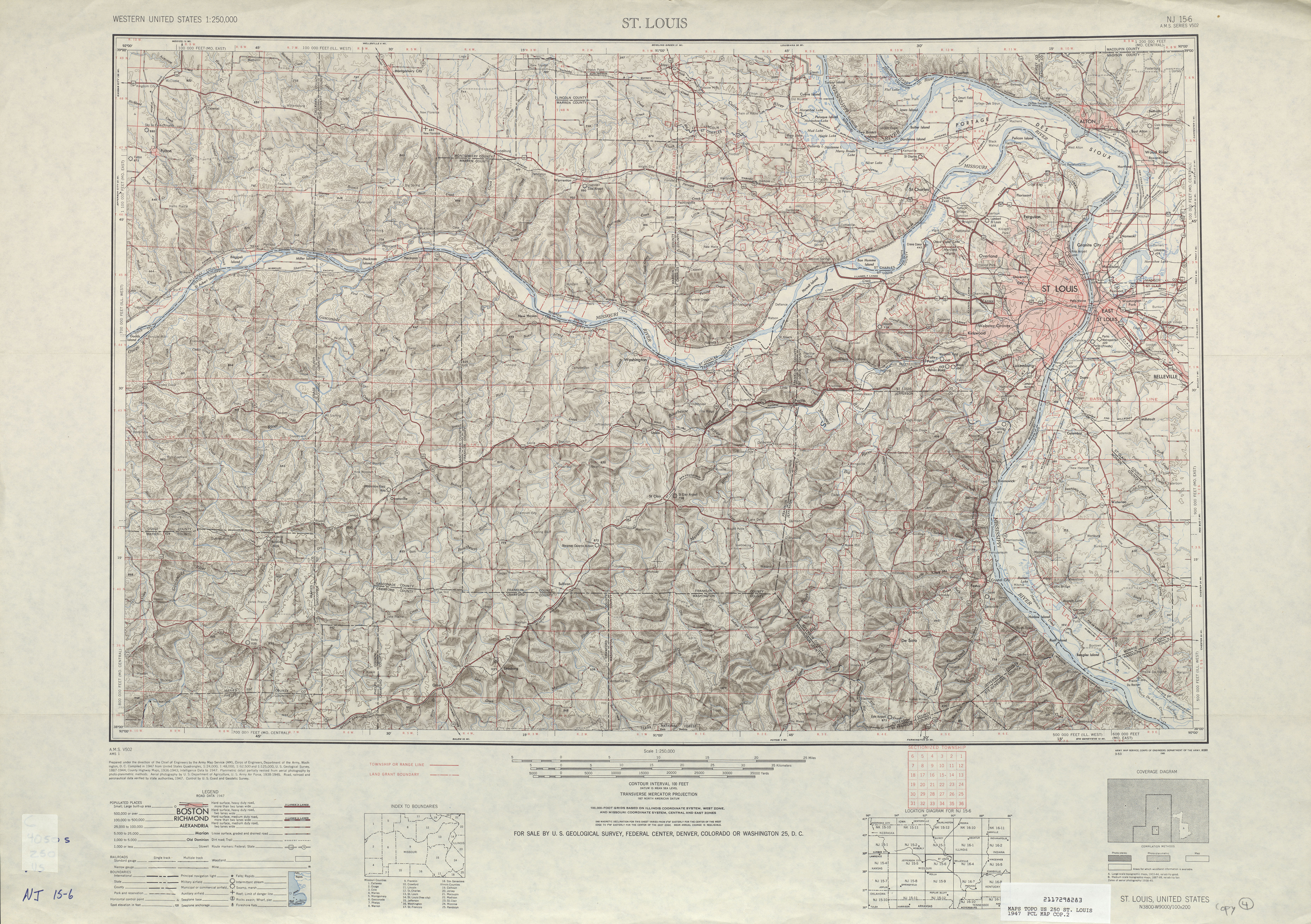 Saint Louis Topographic Map Sheet, United States 1947