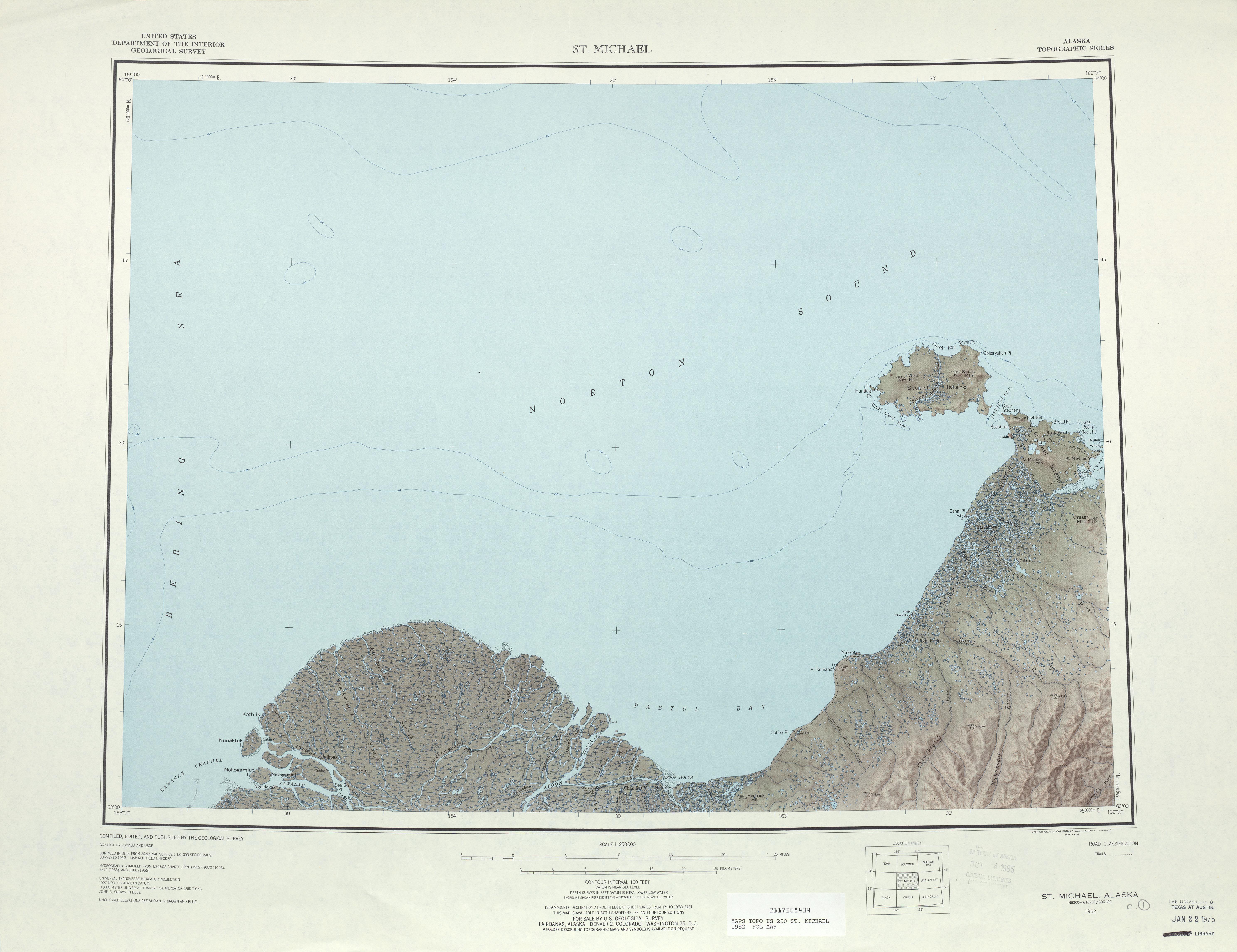 Hoja Saint Michael del Mapa Topográfico de los Estados Unidos 1952