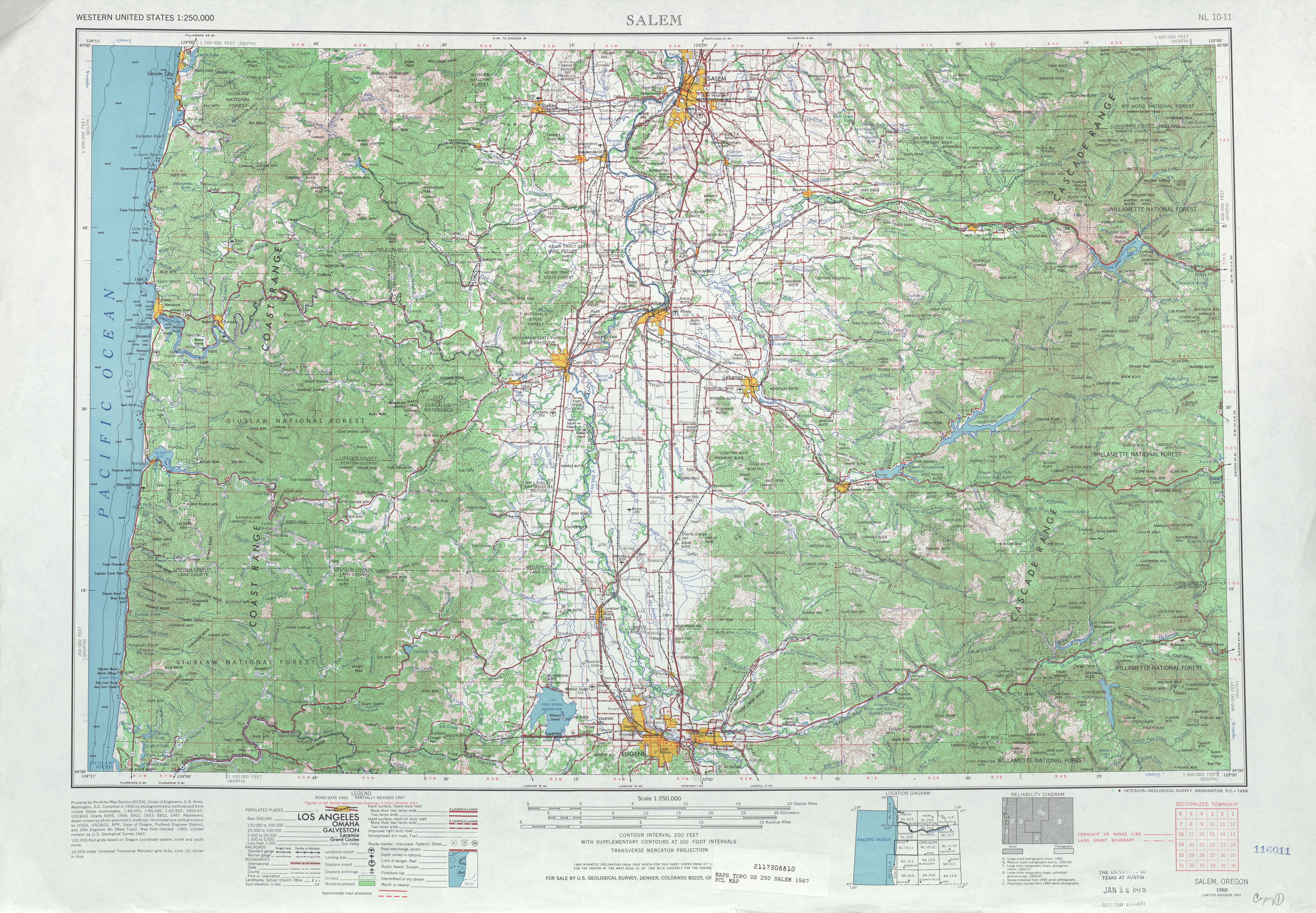 Salem Topographic Map Sheet, United States 1967