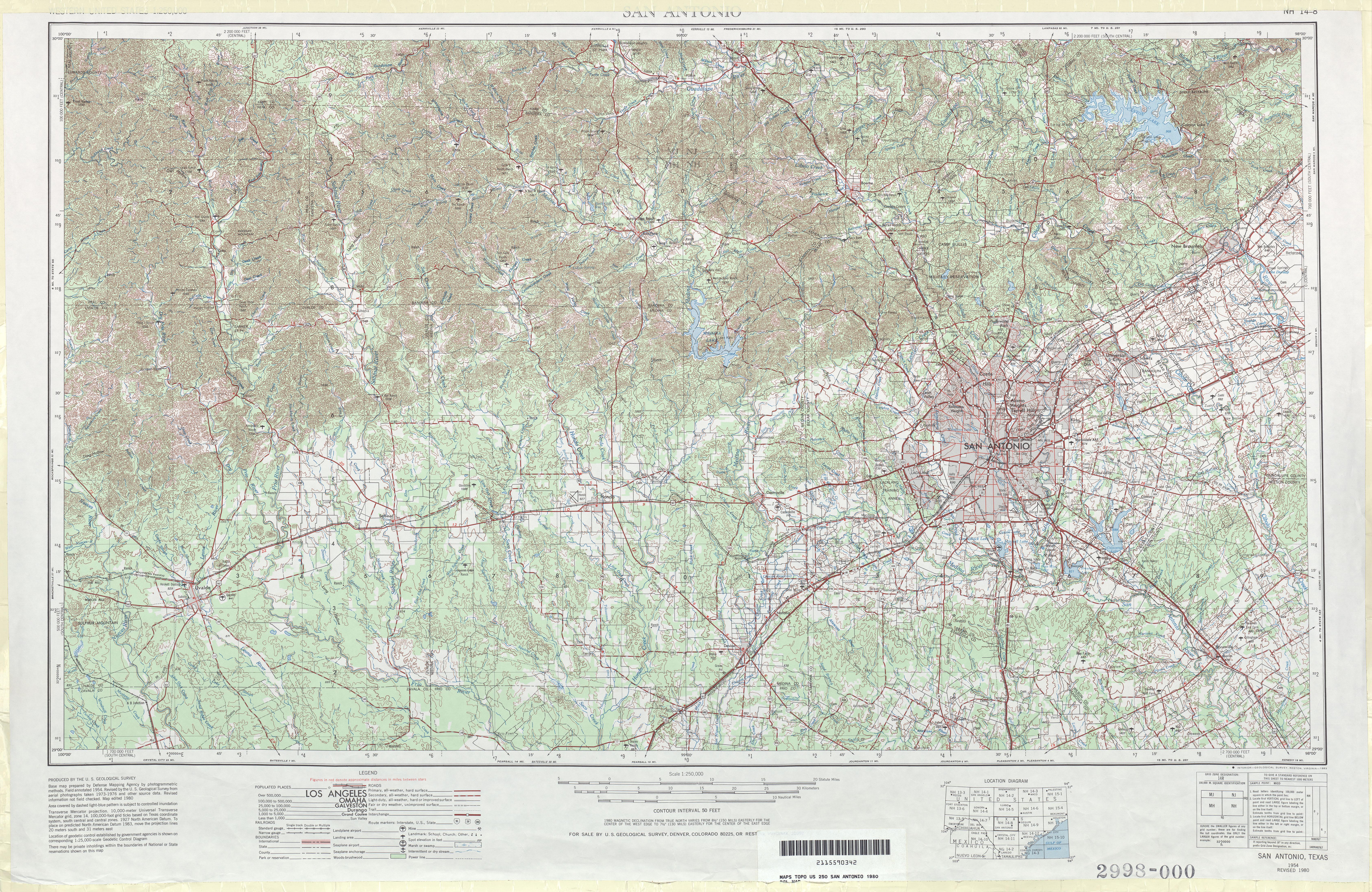 Hoja San Antonio del Mapa Topográfico de los Estados Unidos 1980