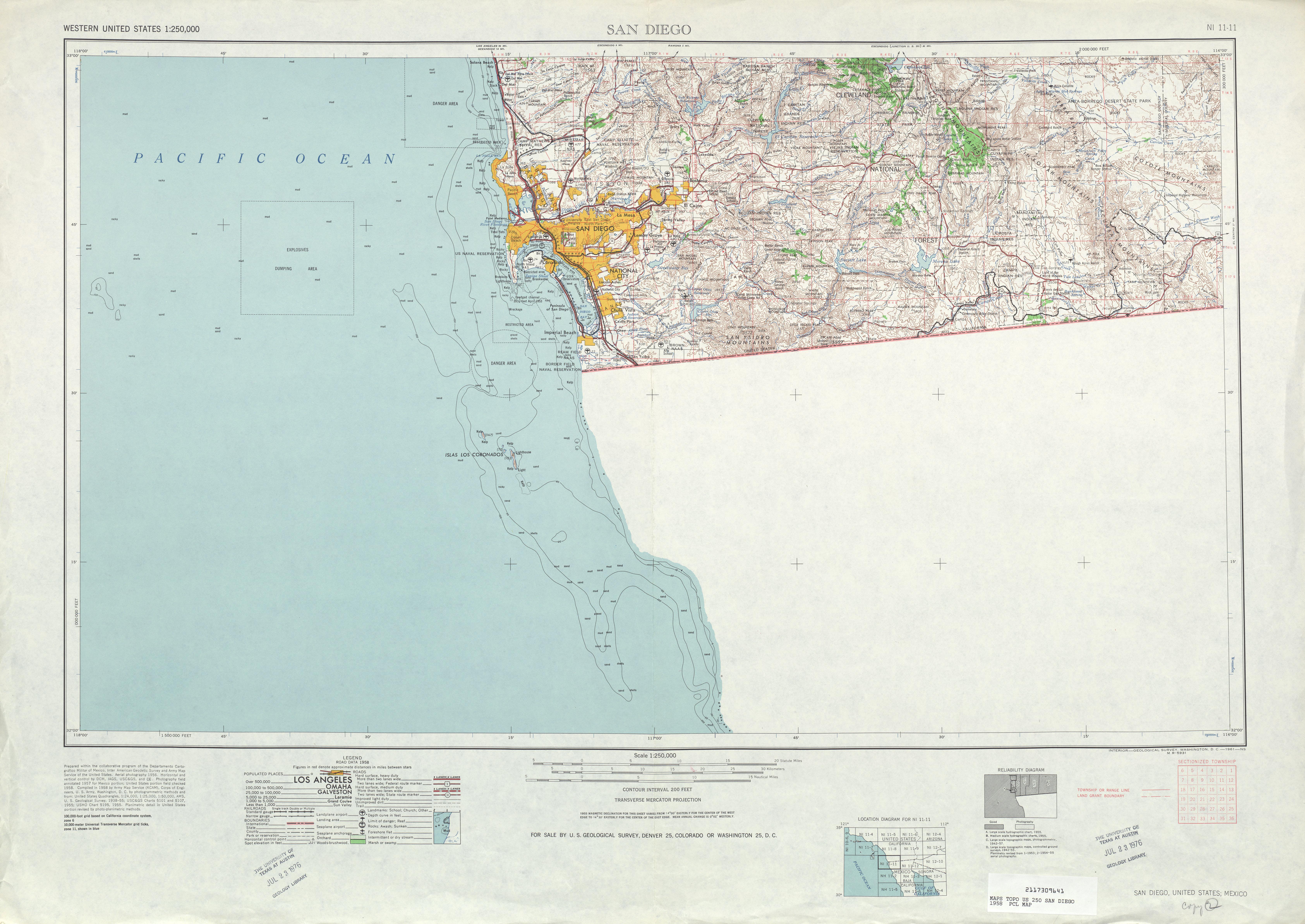 Hoja San Diego del Mapa Topográfico de los Estados Unidos 1958