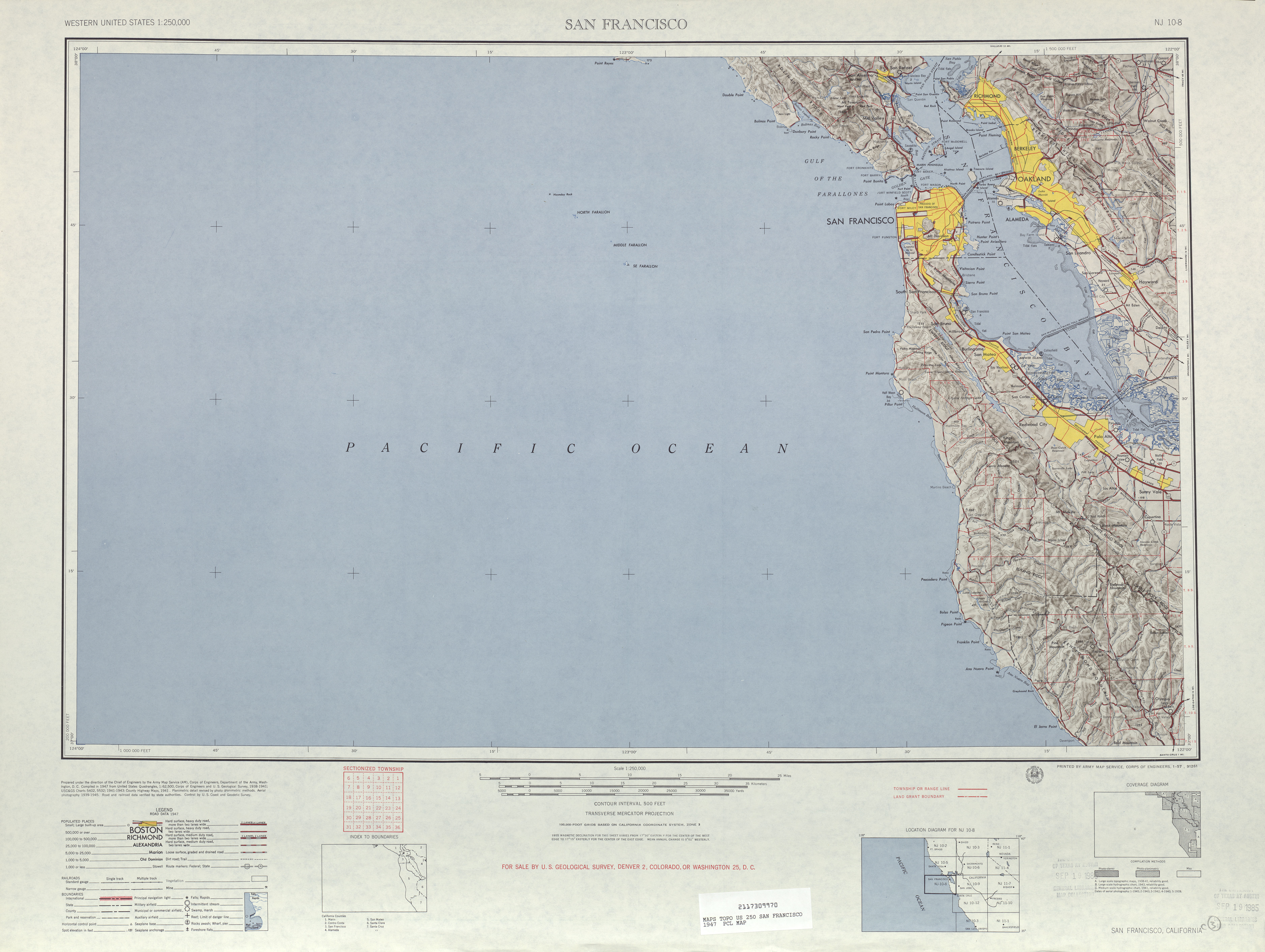 San Francisco Topographic Map Sheet, United States 1947