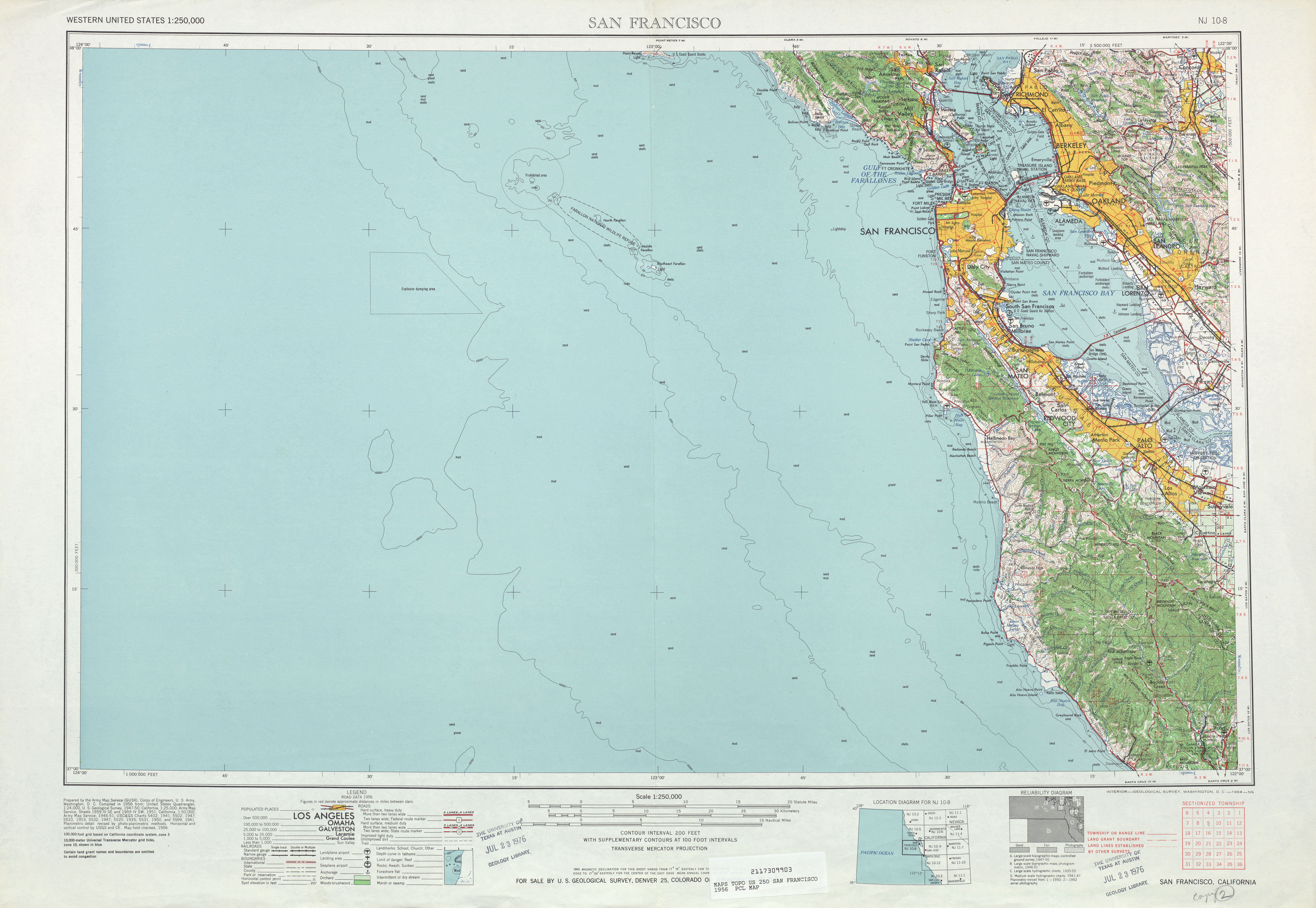 San Francisco Topographic Map Sheet, United States 1956