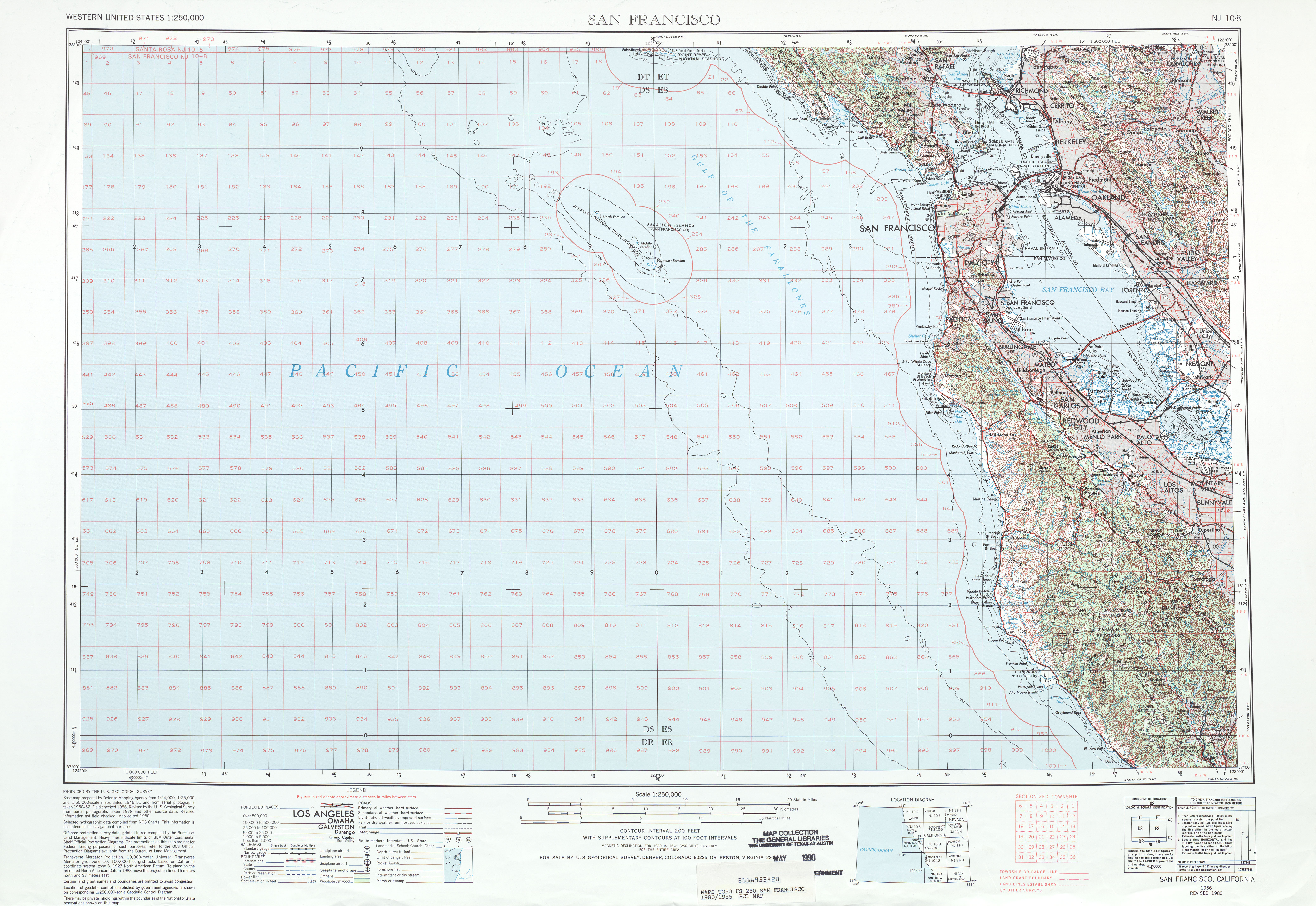 San Francisco Topographic Map Sheet, United States 1980