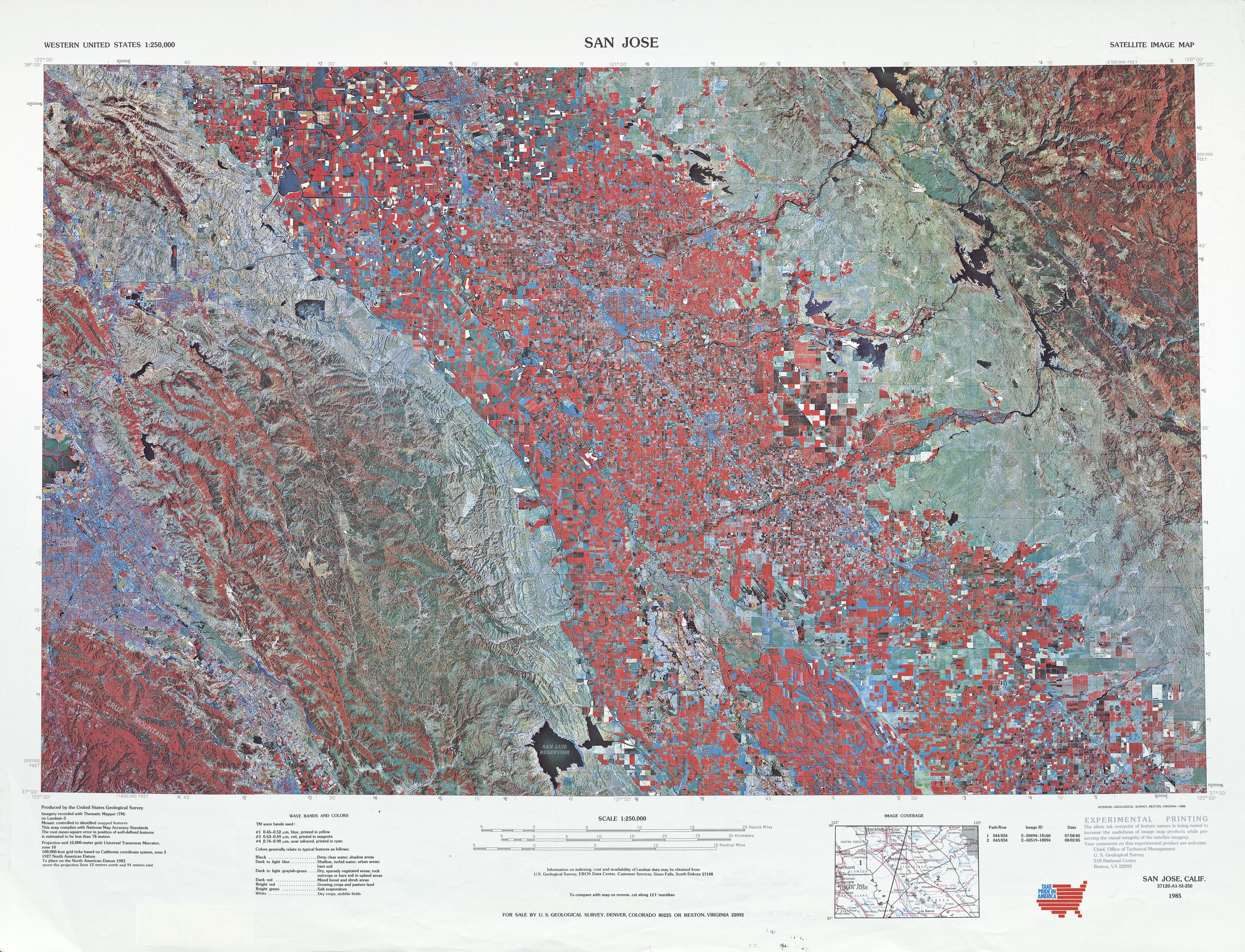 Hoja San José de la Imagen Satelital de los Estados Unidos 1985