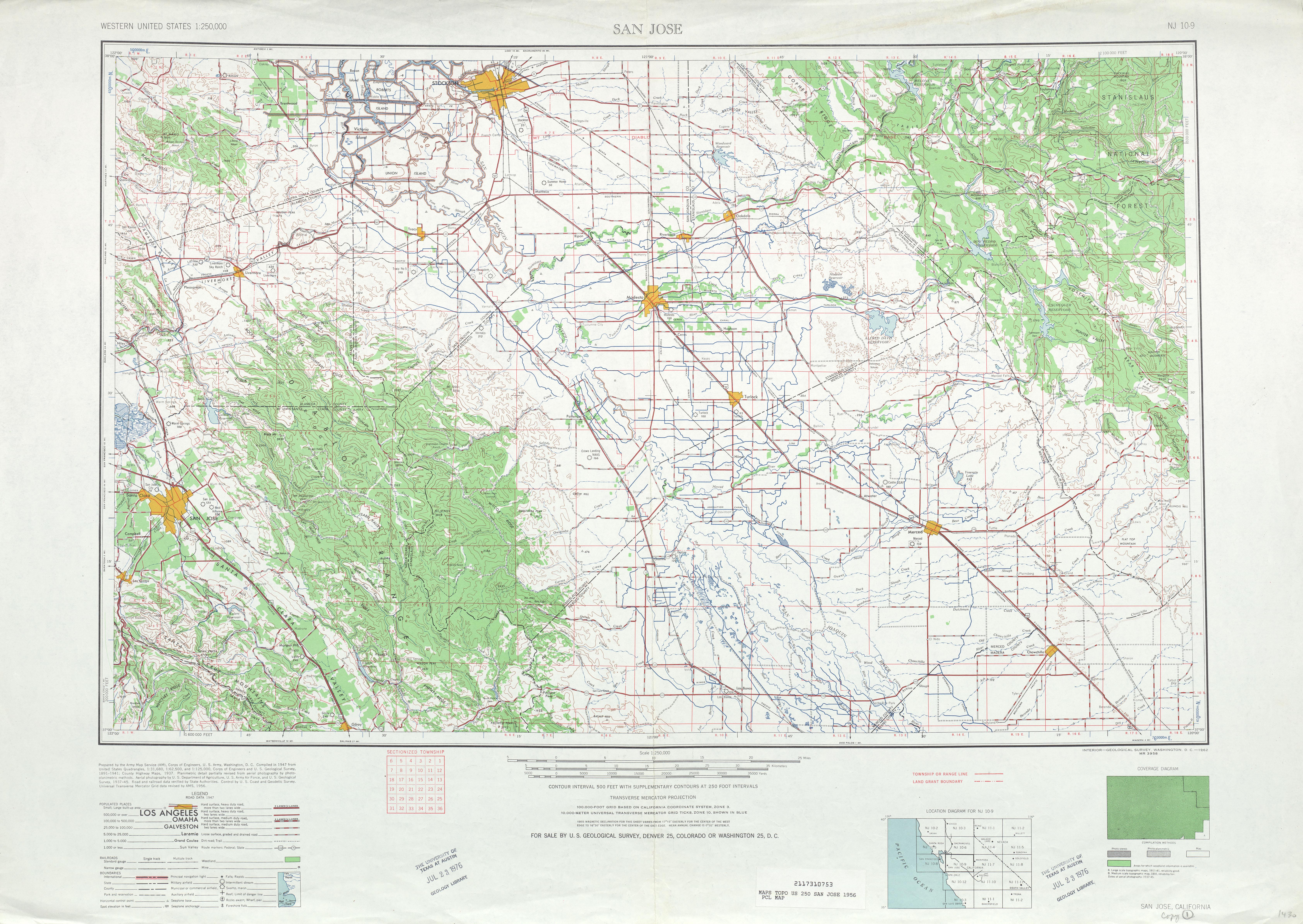 Hoja San José del Mapa Topográfico de los Estados Unidos 1956