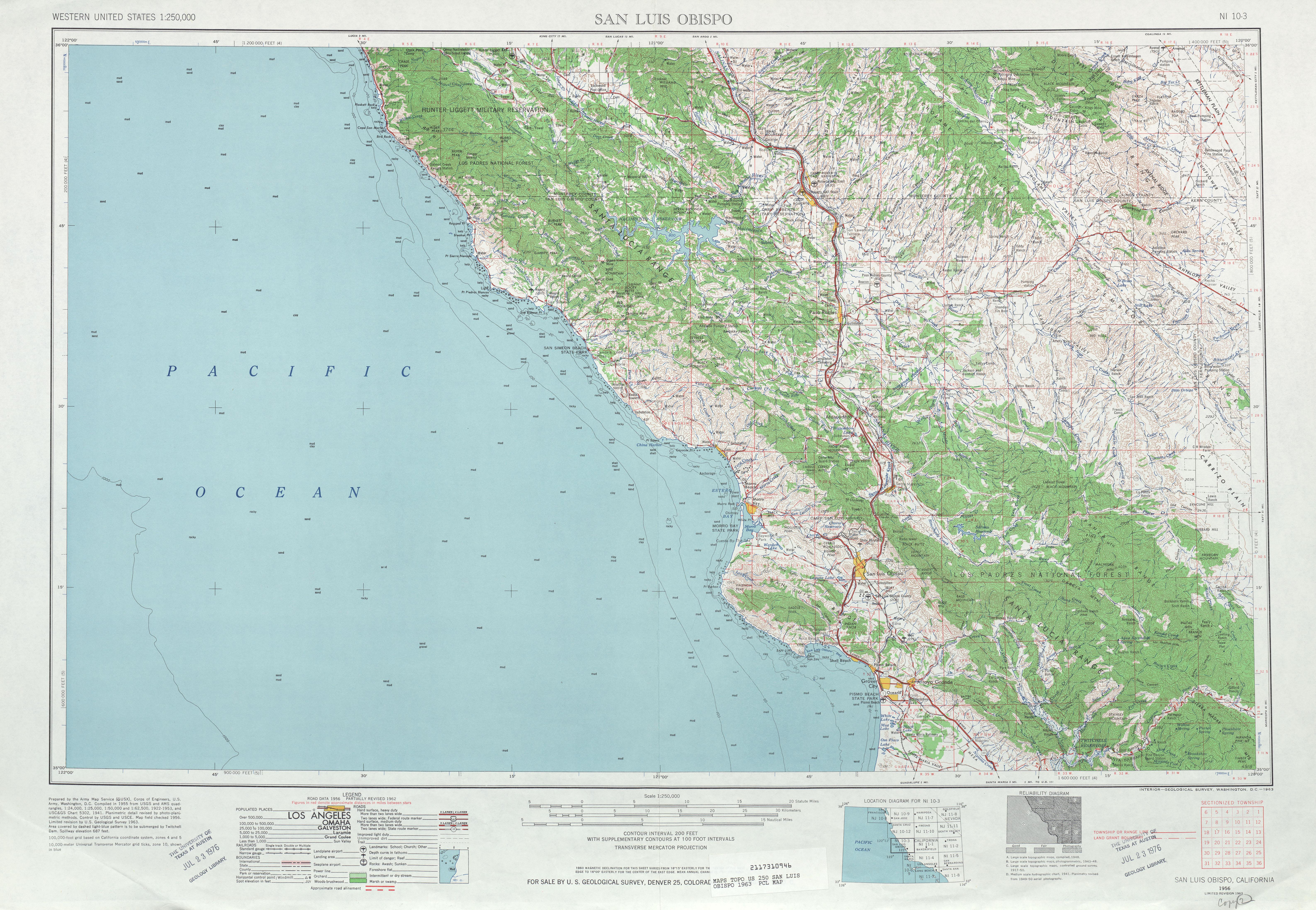 Hoja San Luis Obispo del Mapa Topográfico de los Estados Unidos 1963
