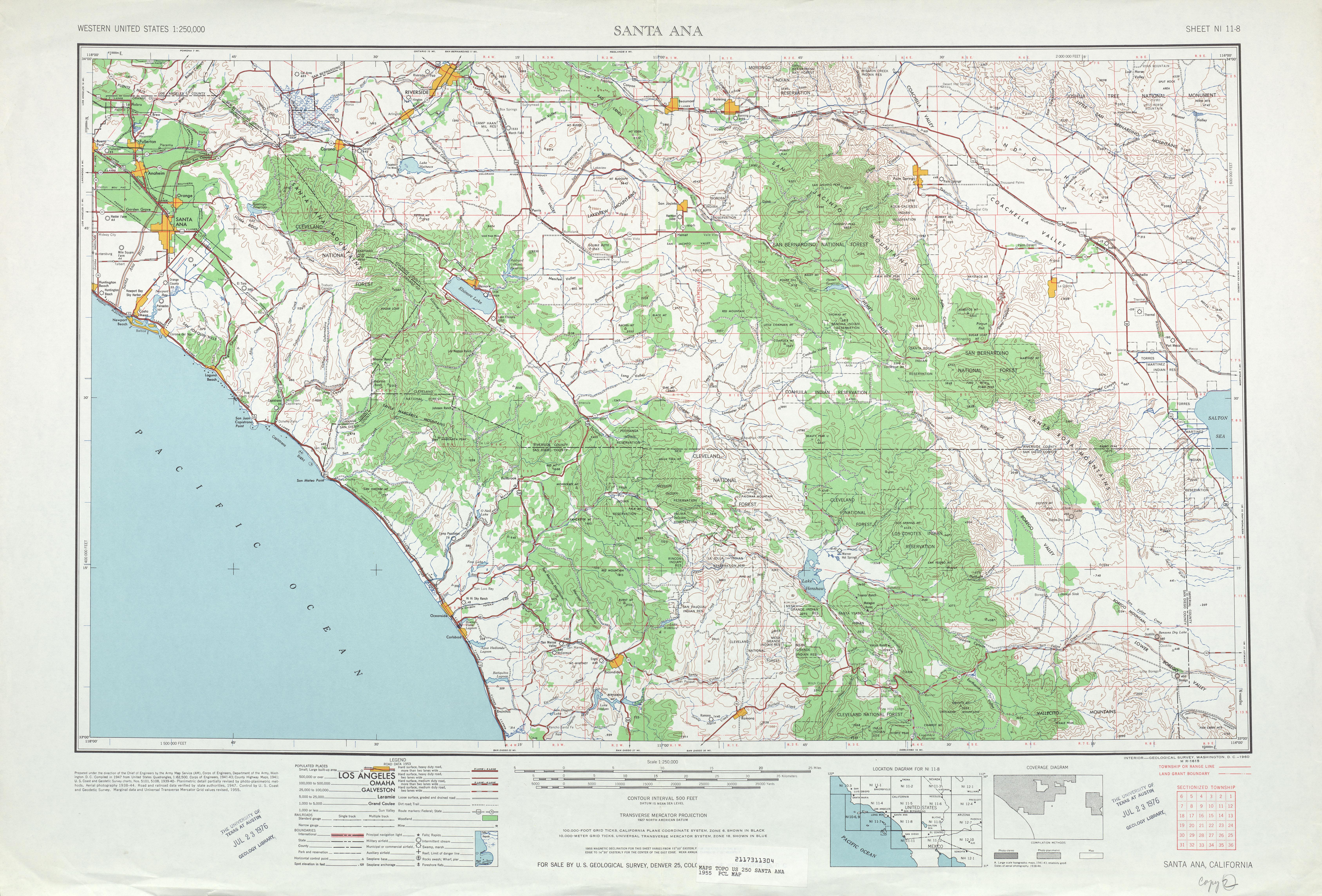 Hoja Santa Ana  del Mapa Topográfico de los Estados Unidos 1955
