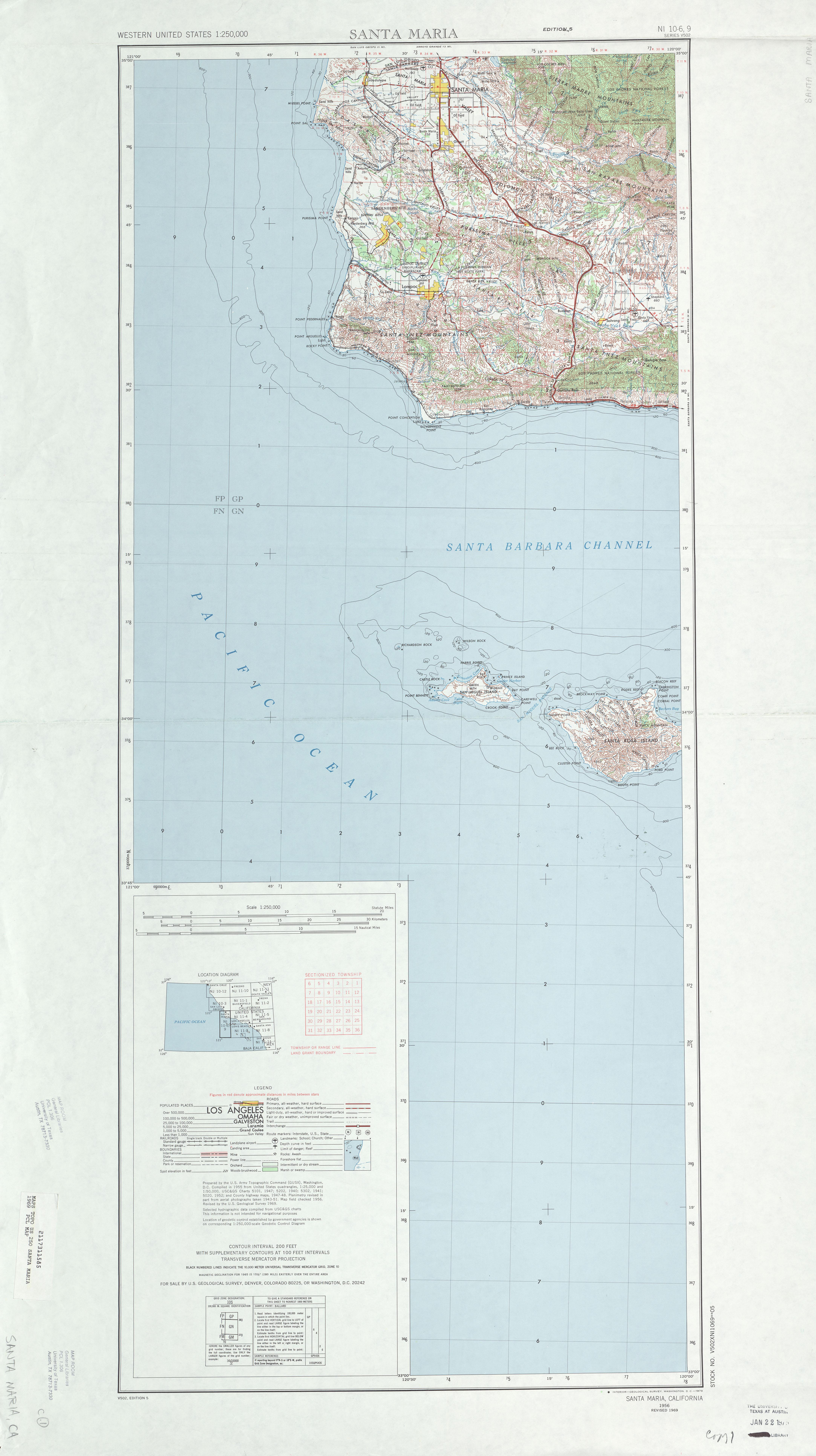 Santa Maria Topographic Map Sheet, United States 1969