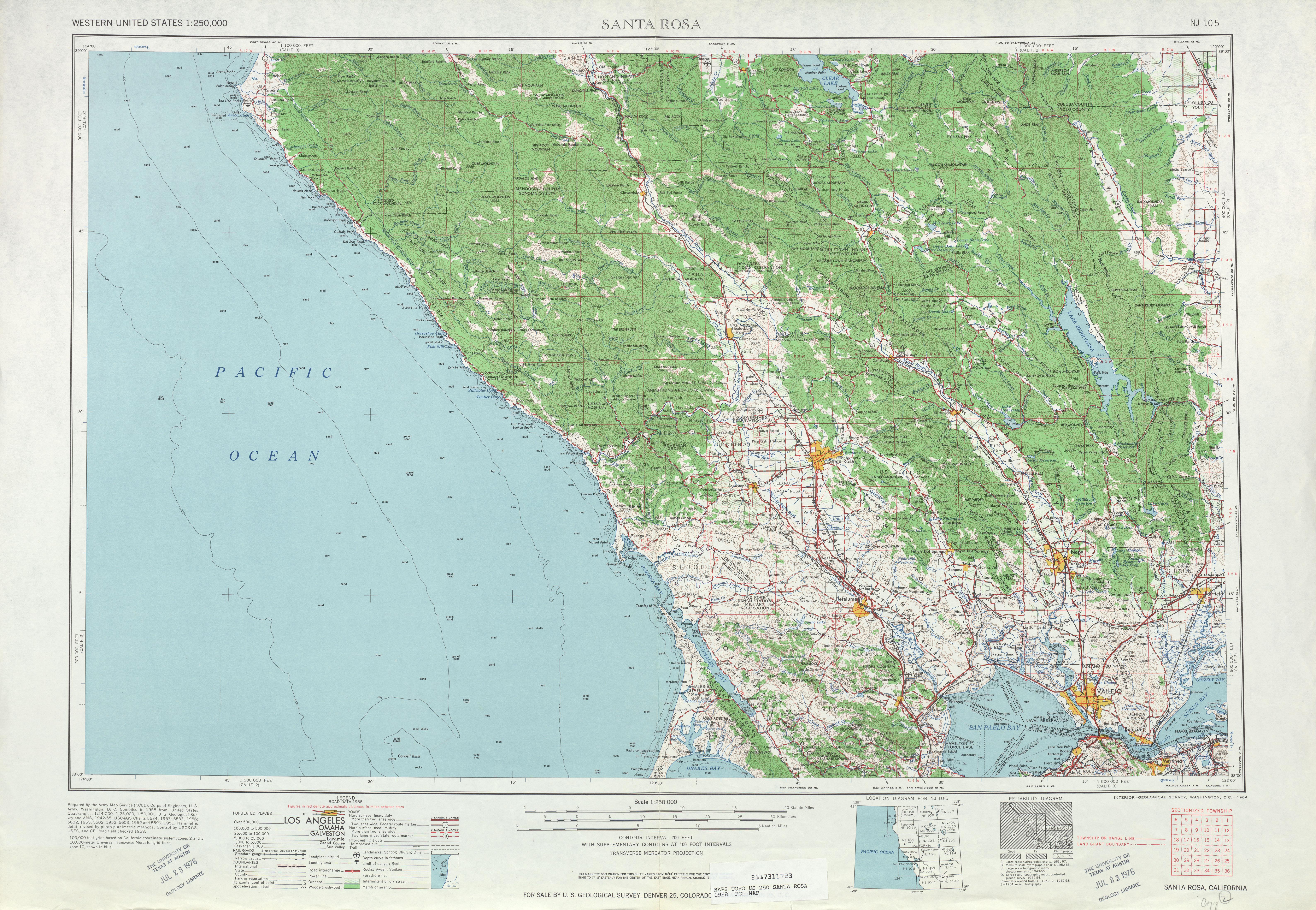 Hoja Santa Rosa del Mapa Topográfico de los Estados Unidos 1958