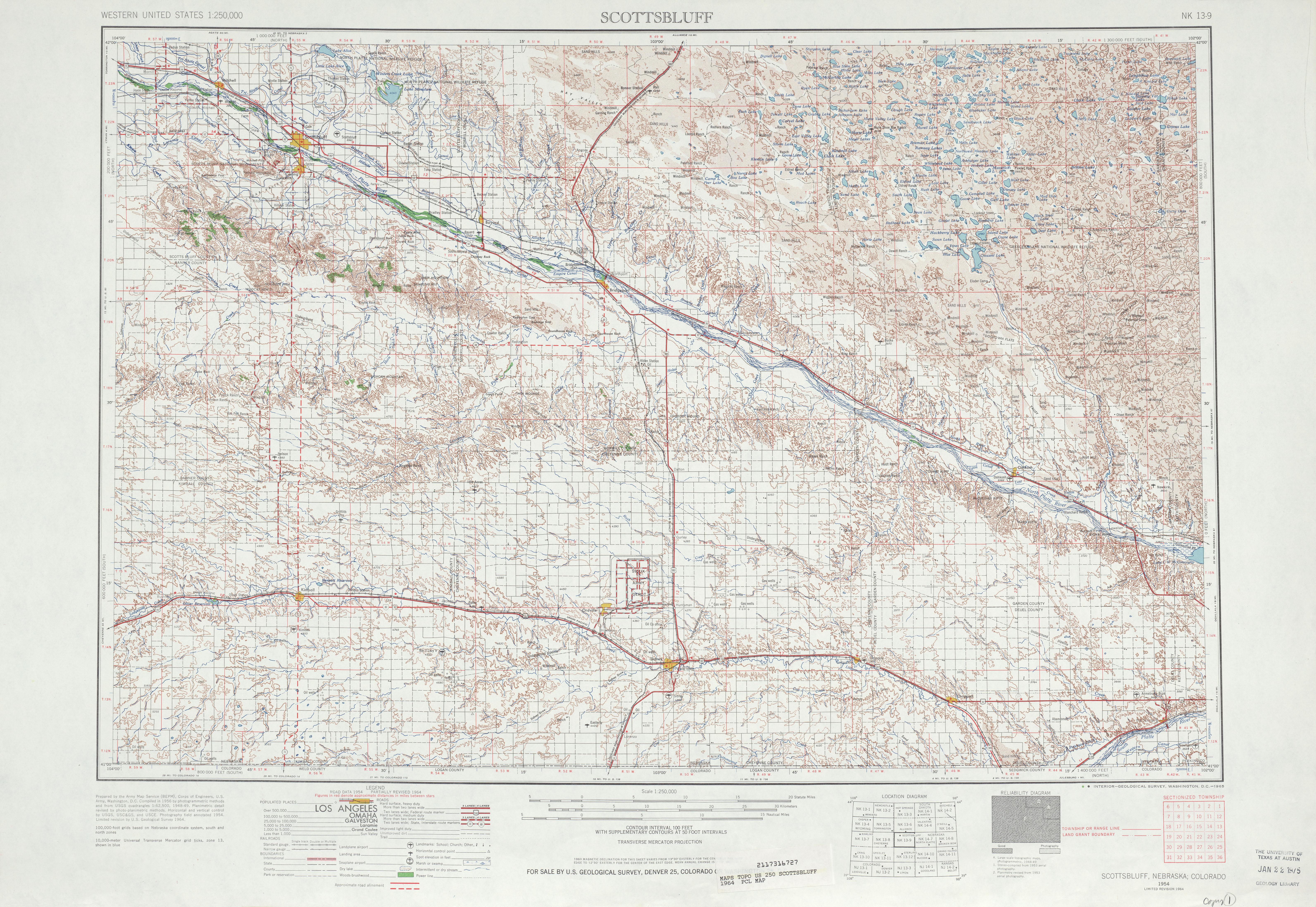 Hoja Scottsbluff del Mapa Topográfico de los Estados Unidos 1964