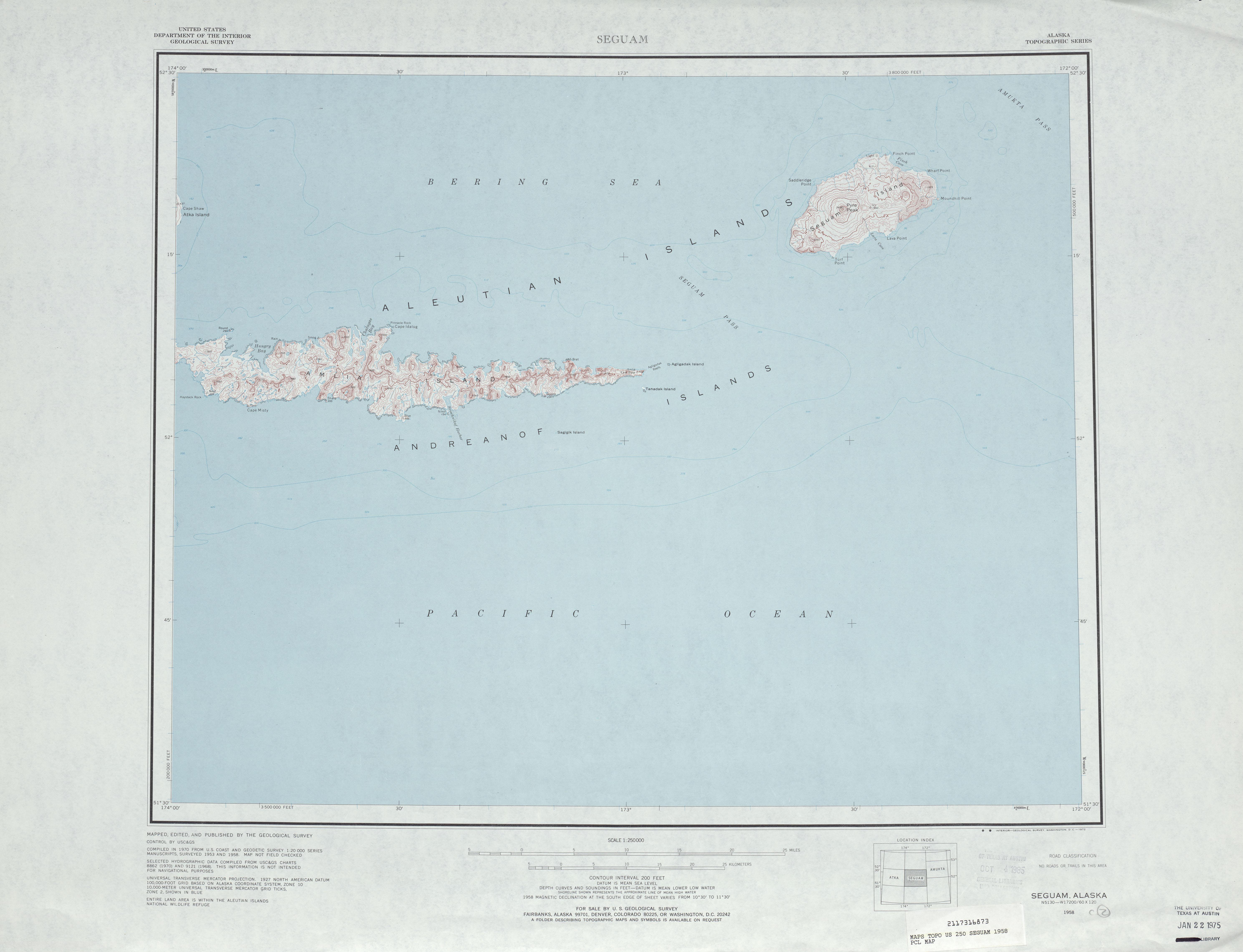 Hoja Seguam del Mapa Topográfico de los Estados Unidos 1958