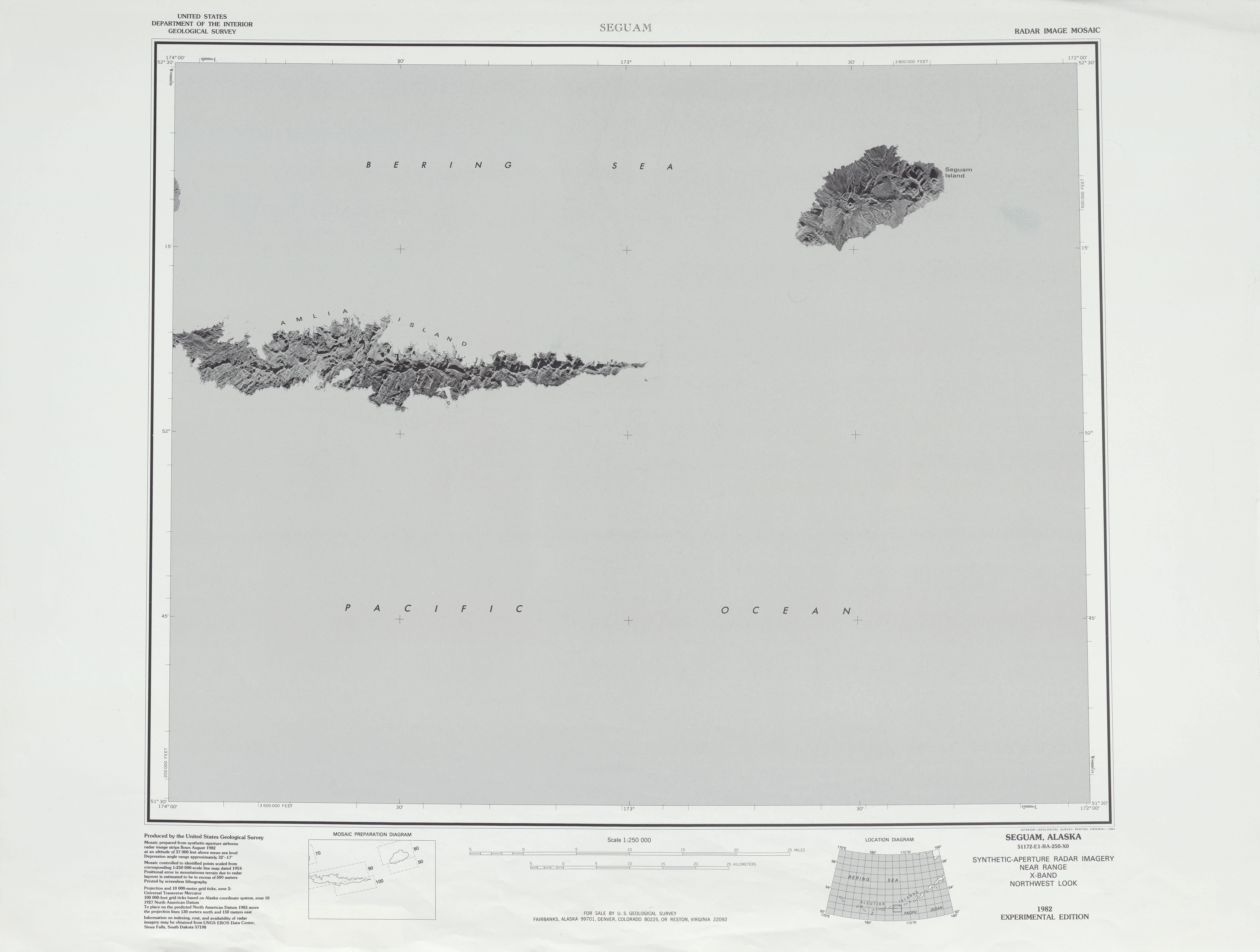 Seguam Radar Image Mosaic Sheet, United States 1983
