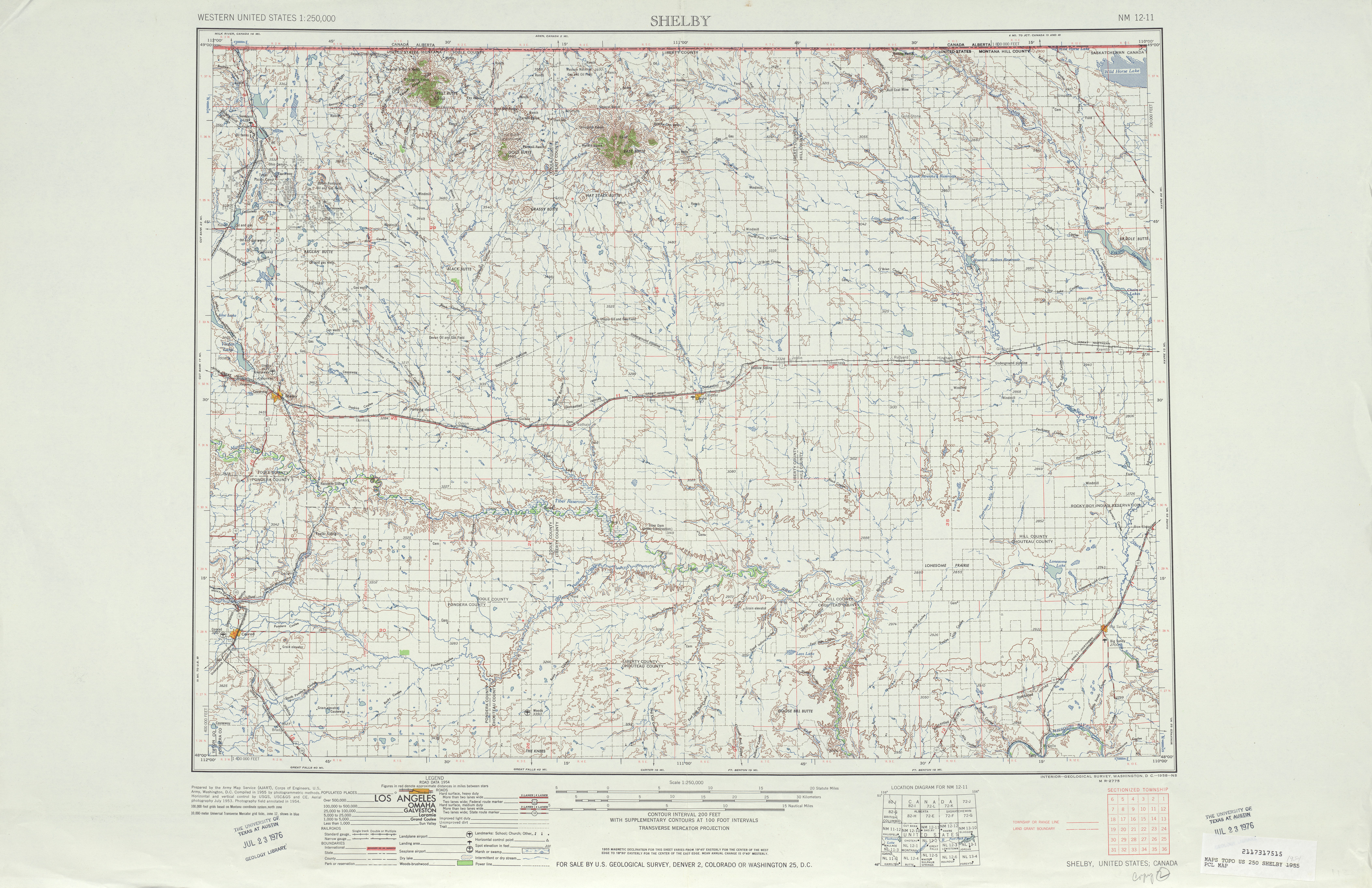 Shelby Topographic Map Sheet, United States 1954