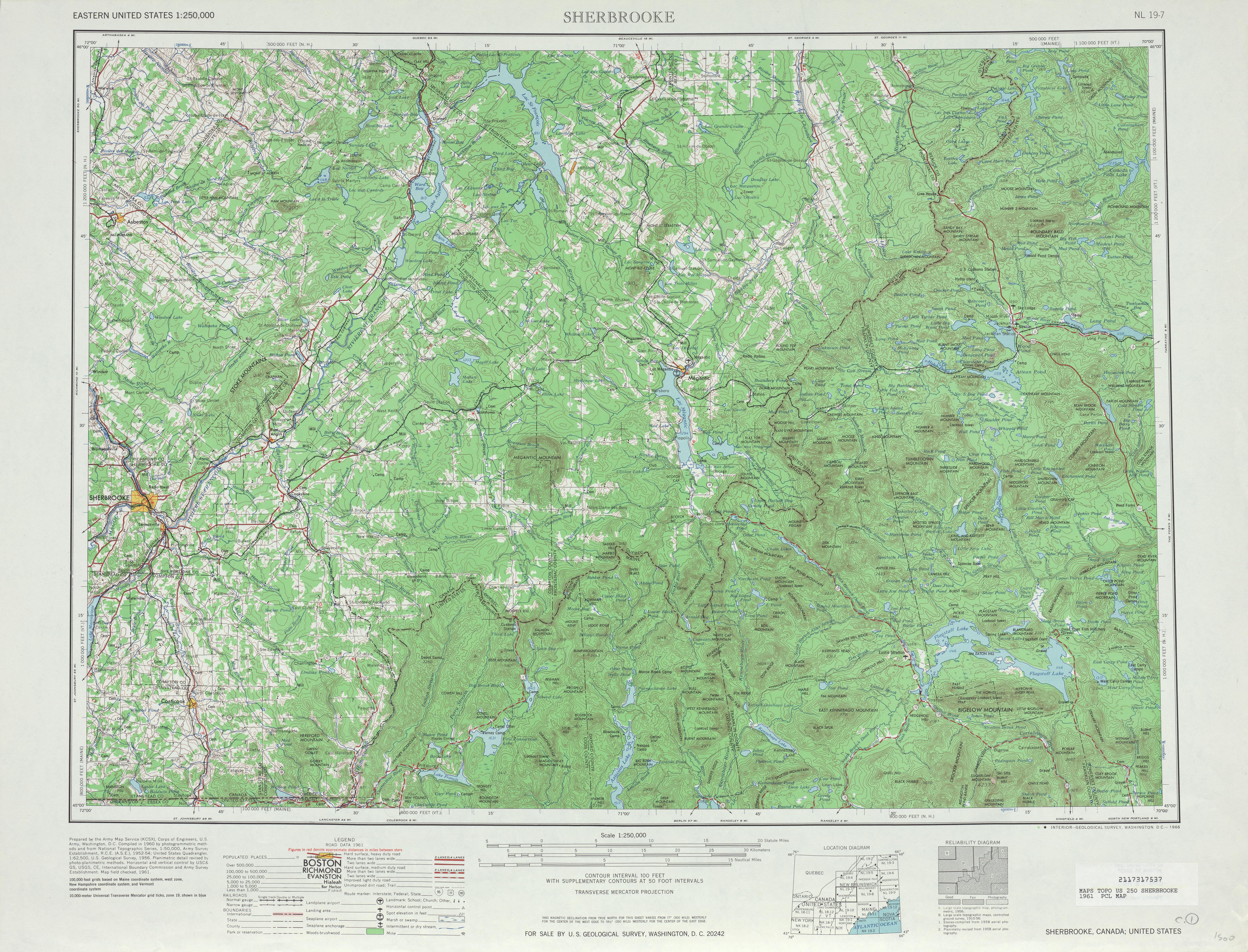Hoja Sherbrooke del Mapa Topográfico de los Estados Unidos 1961