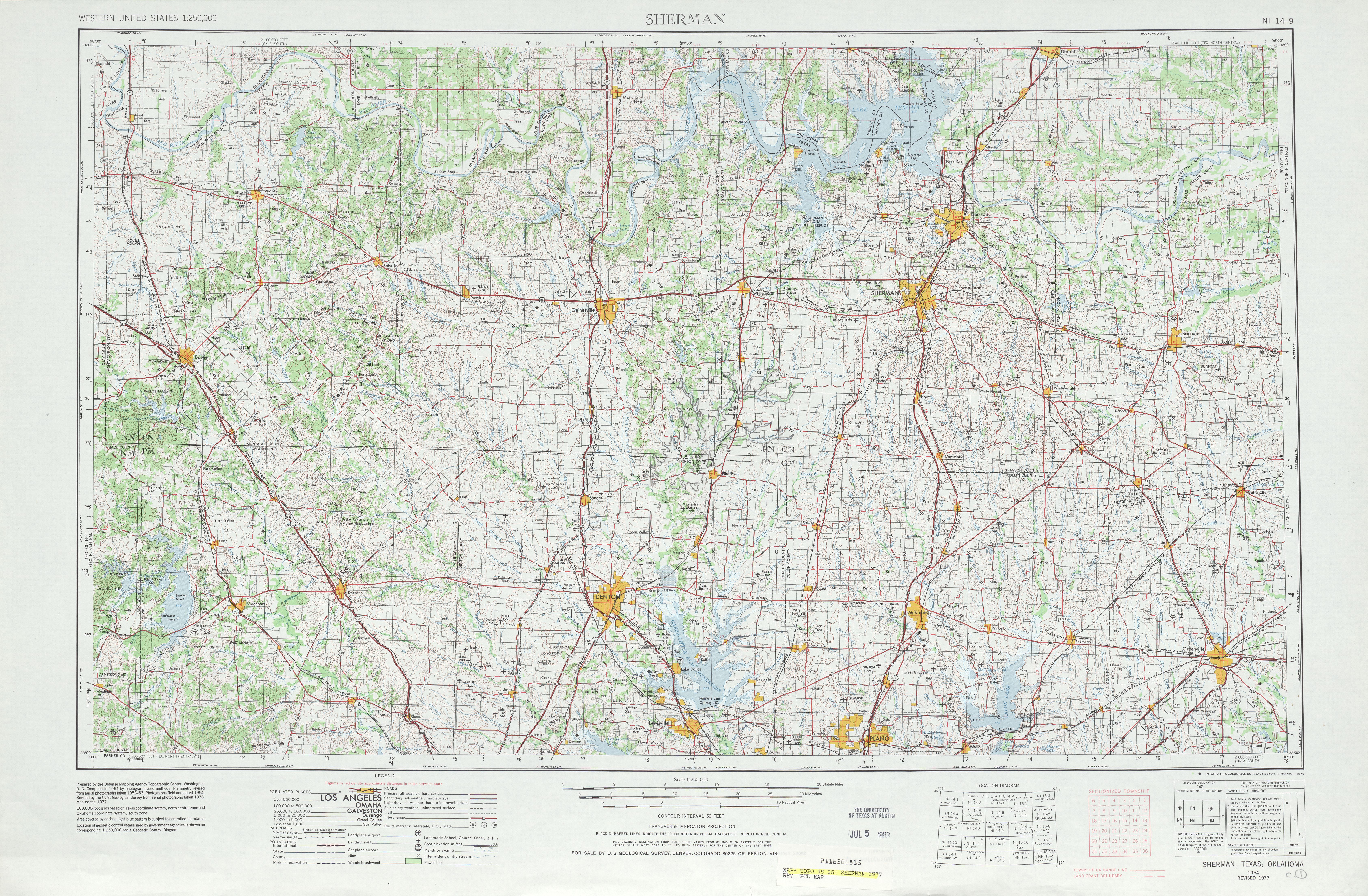 Hoja Sherman del Mapa Topográfico de los Estados Unidos 1977