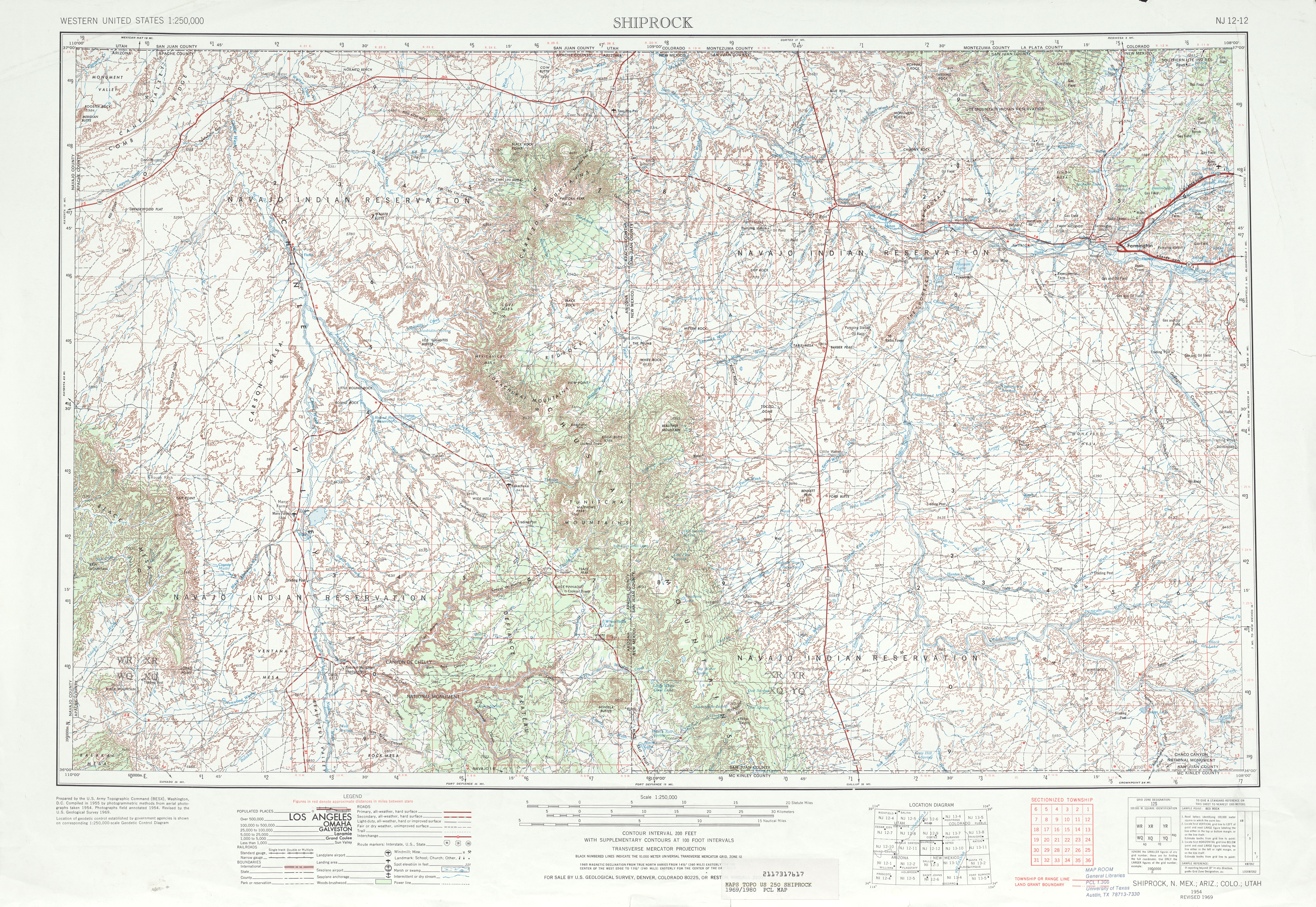 Shiprock Topographic Map Sheet, United States 1969