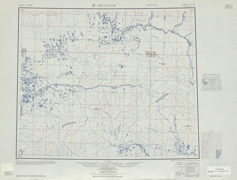 Hoja Shungnak del Mapa Topográfico de los Estados Unidos 1951
