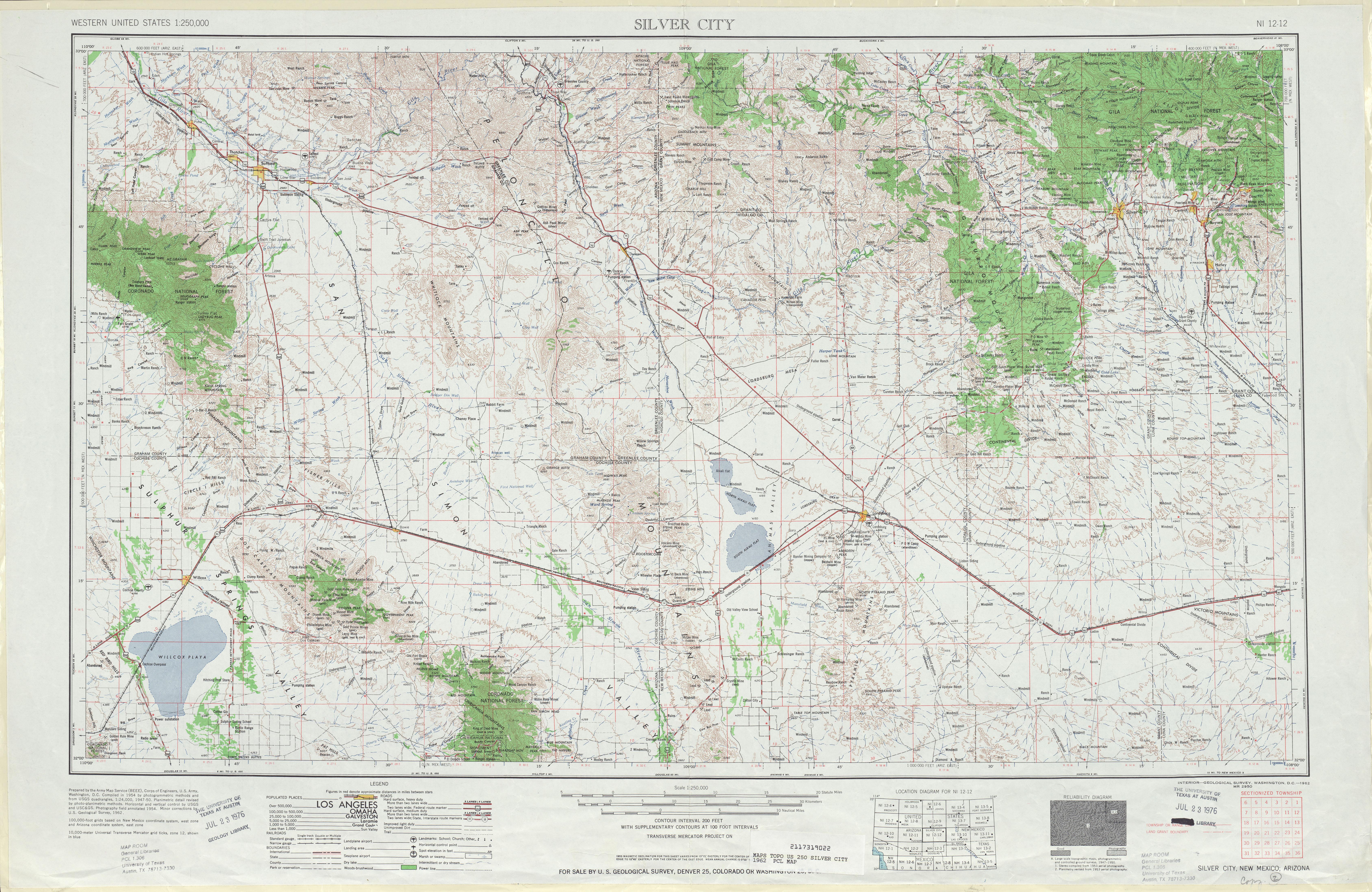 Hoja Silver City del Mapa Topográfico de los Estados Unidos 1962