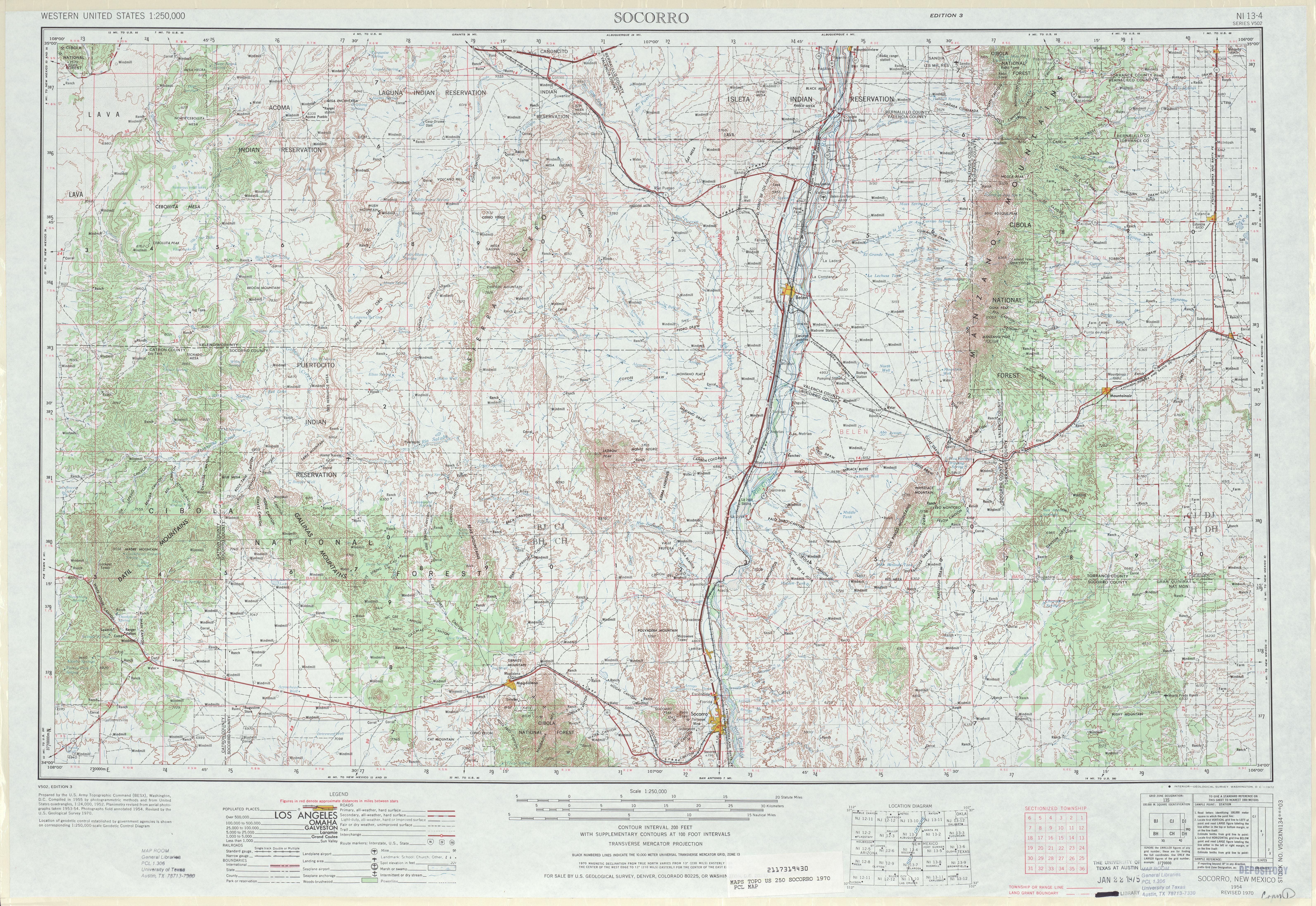 Hoja Socorro del Mapa Topográfico de los Estados Unidos 1970