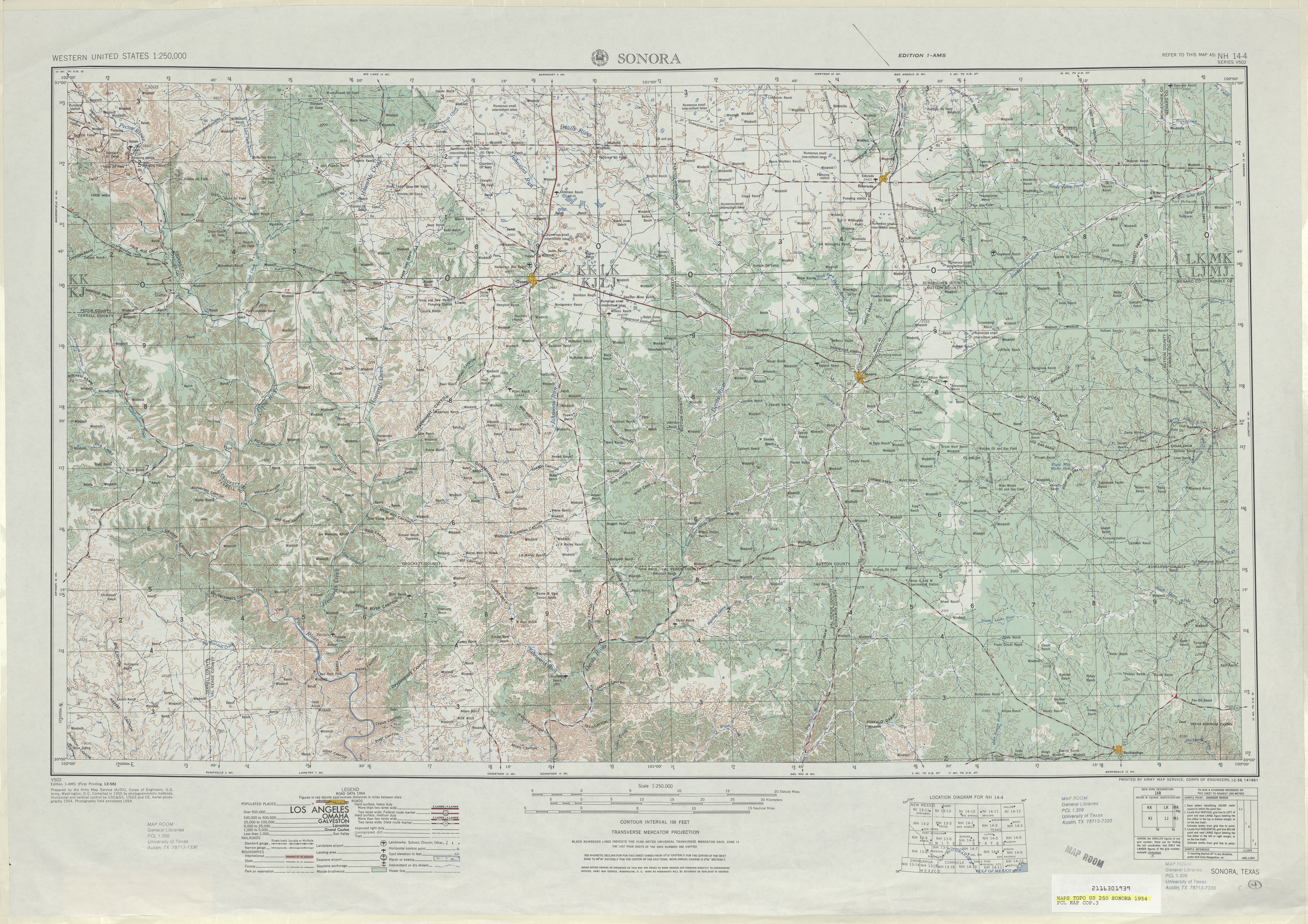 Sonora Topographic Map Sheet, United States 1954