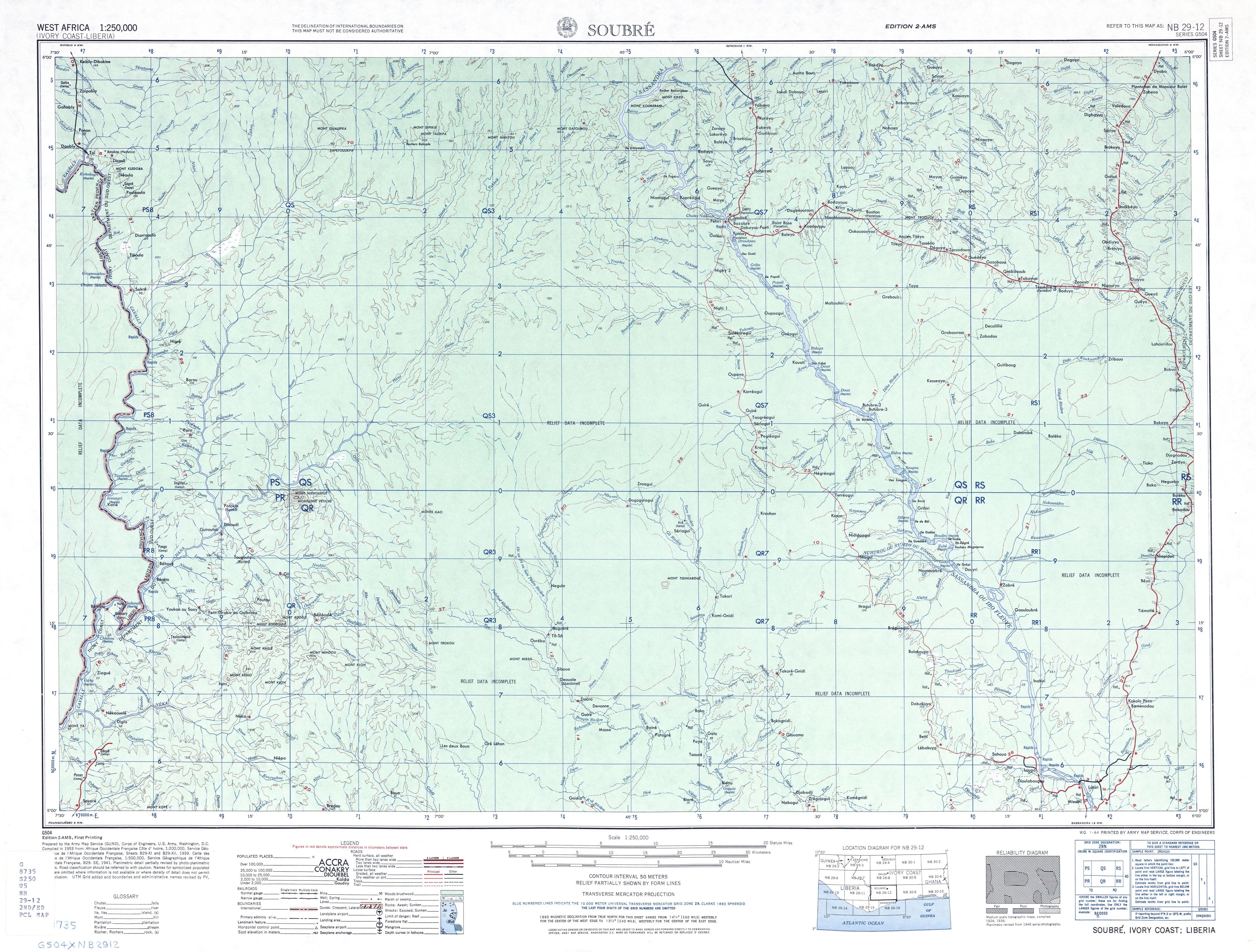 Hoja Soubre del Mapa Topográfico de África Occidental 1955