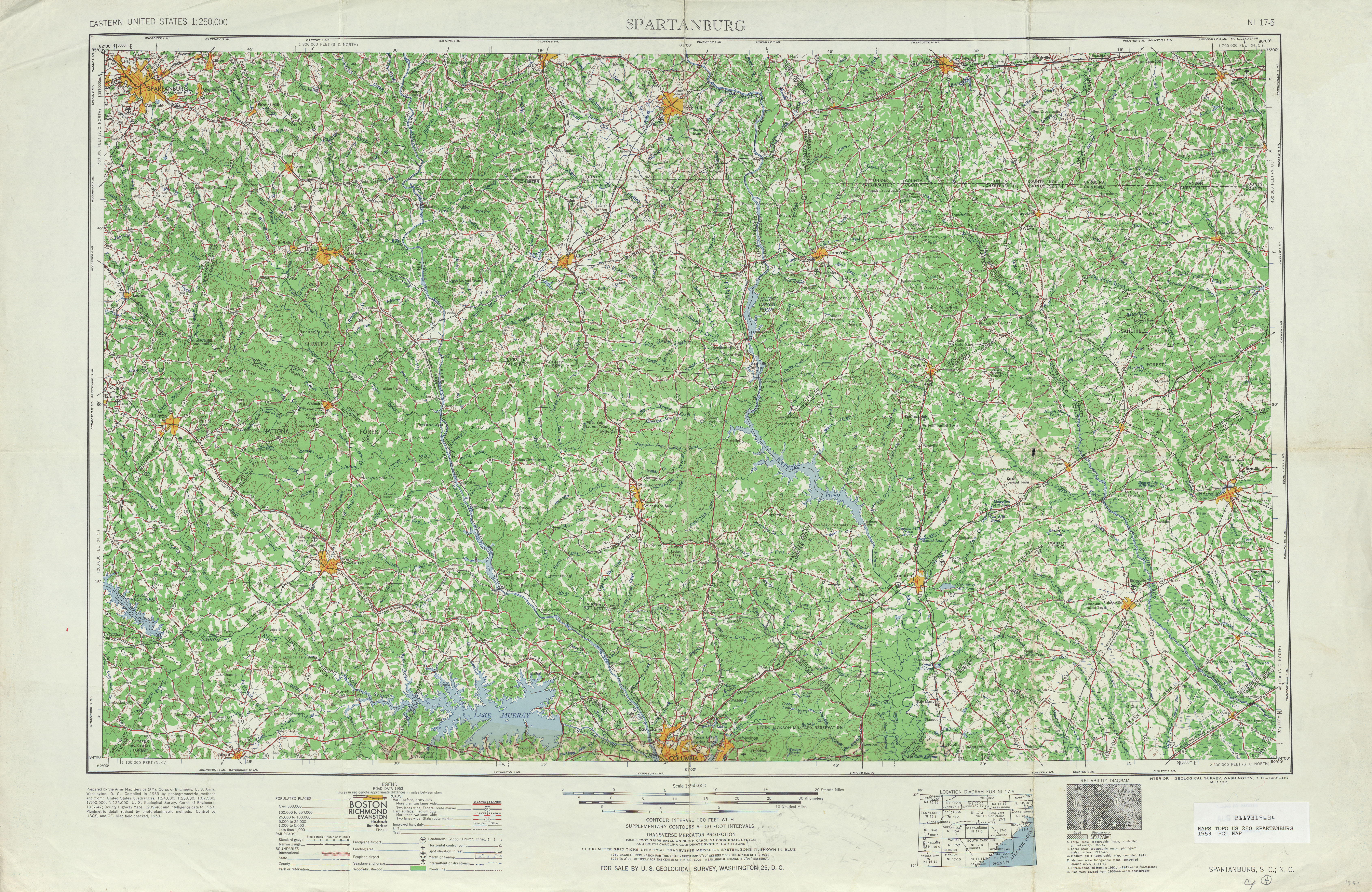 Spartanburg Topographic Map Sheet, United States 1953