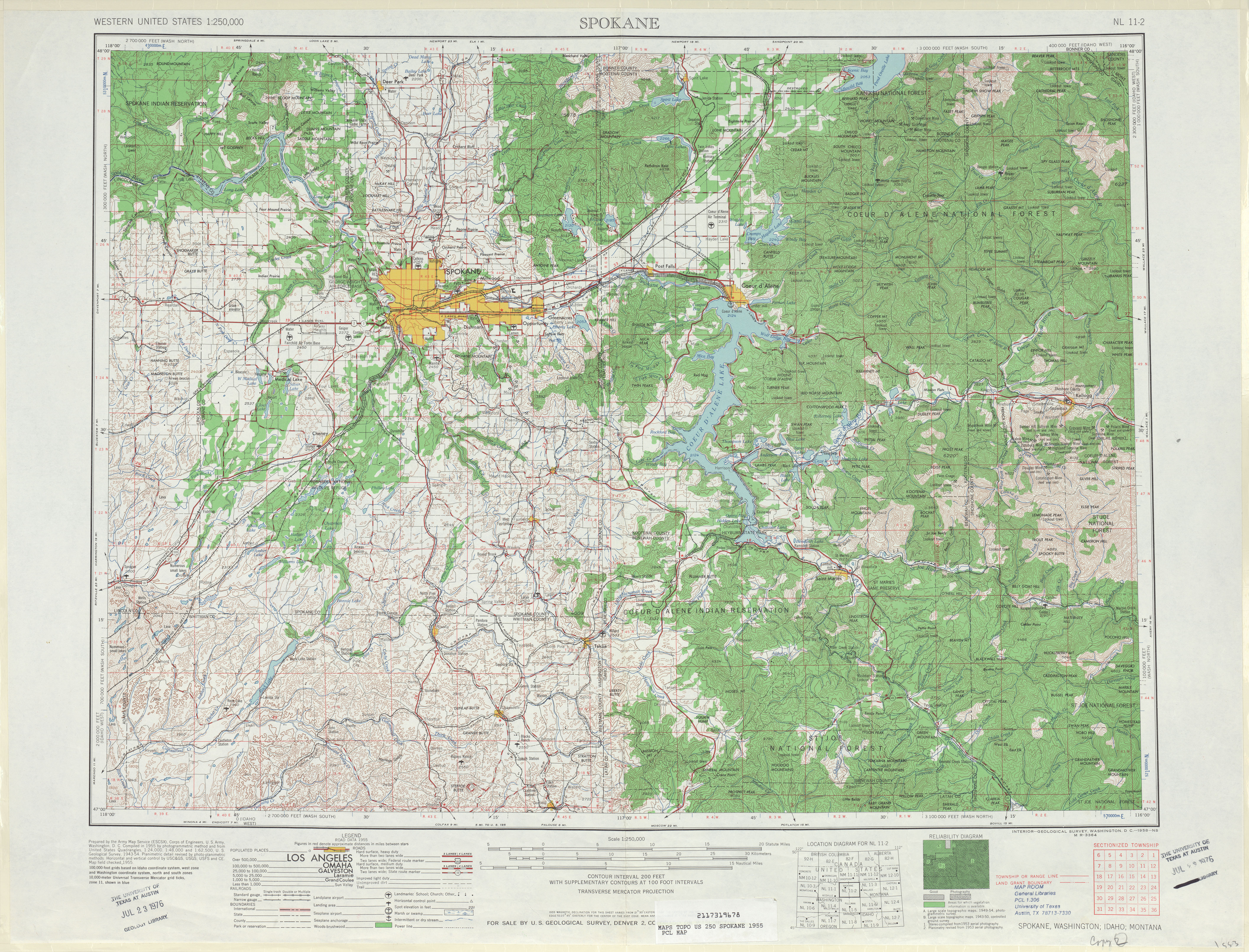 Spokane Topographic Map Sheet, United States 1955