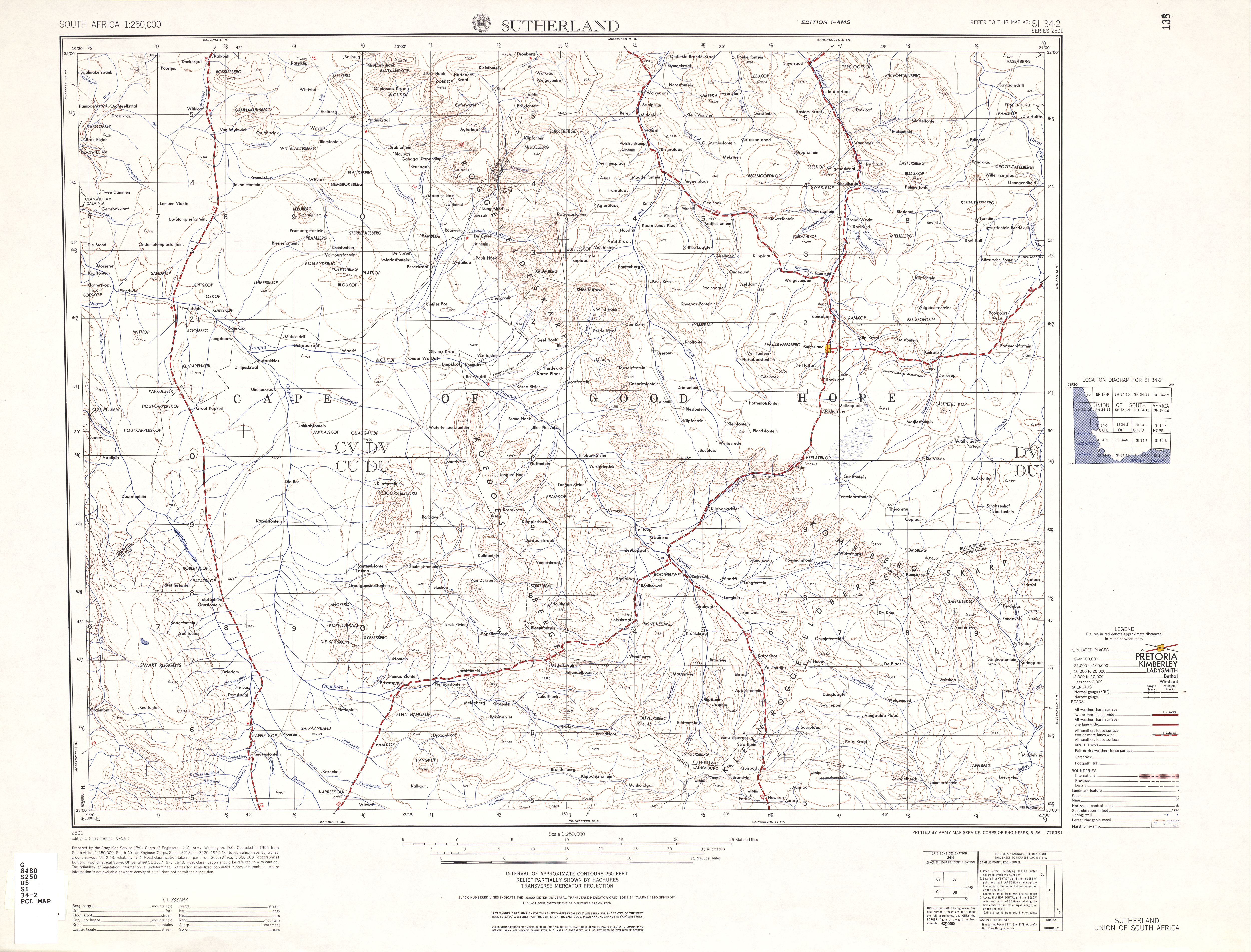 Sutherland Topographic Map Sheet, Southern Africa 1954