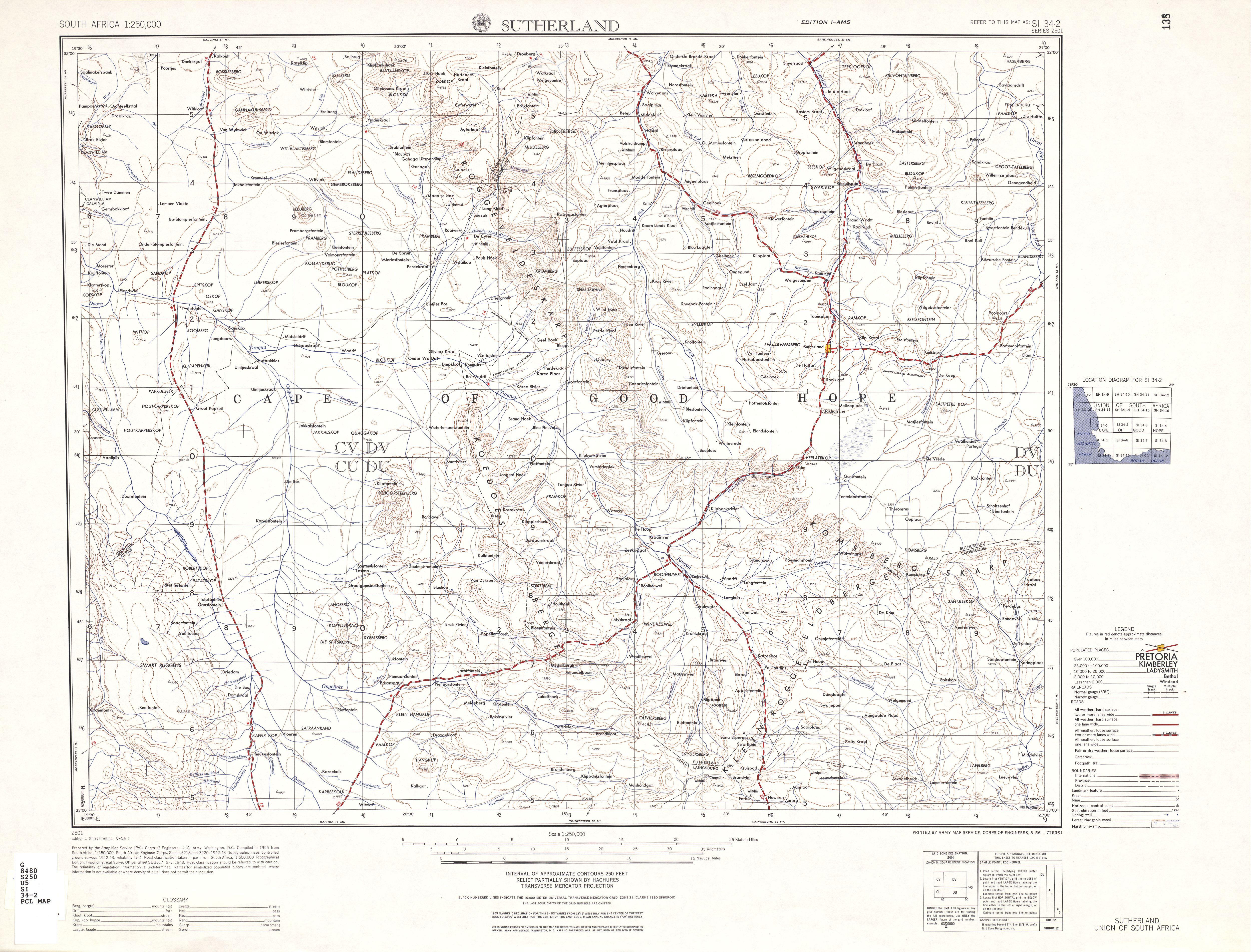 Hoja Sutherland del Mapa Topográfico de África Meridional 1954
