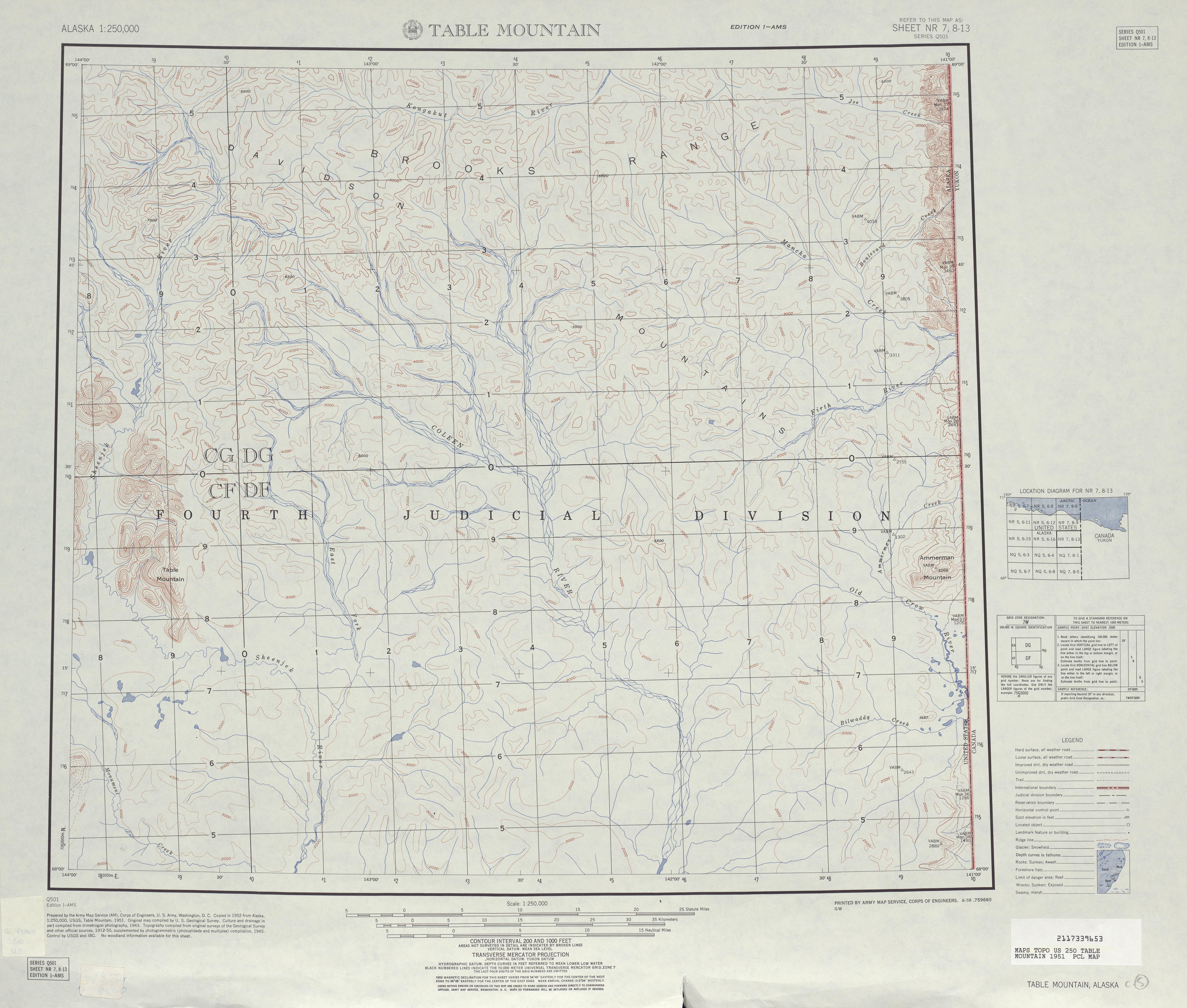 Hoja Table Mountain del Mapa Topográfico de los Estados Unidos 1951