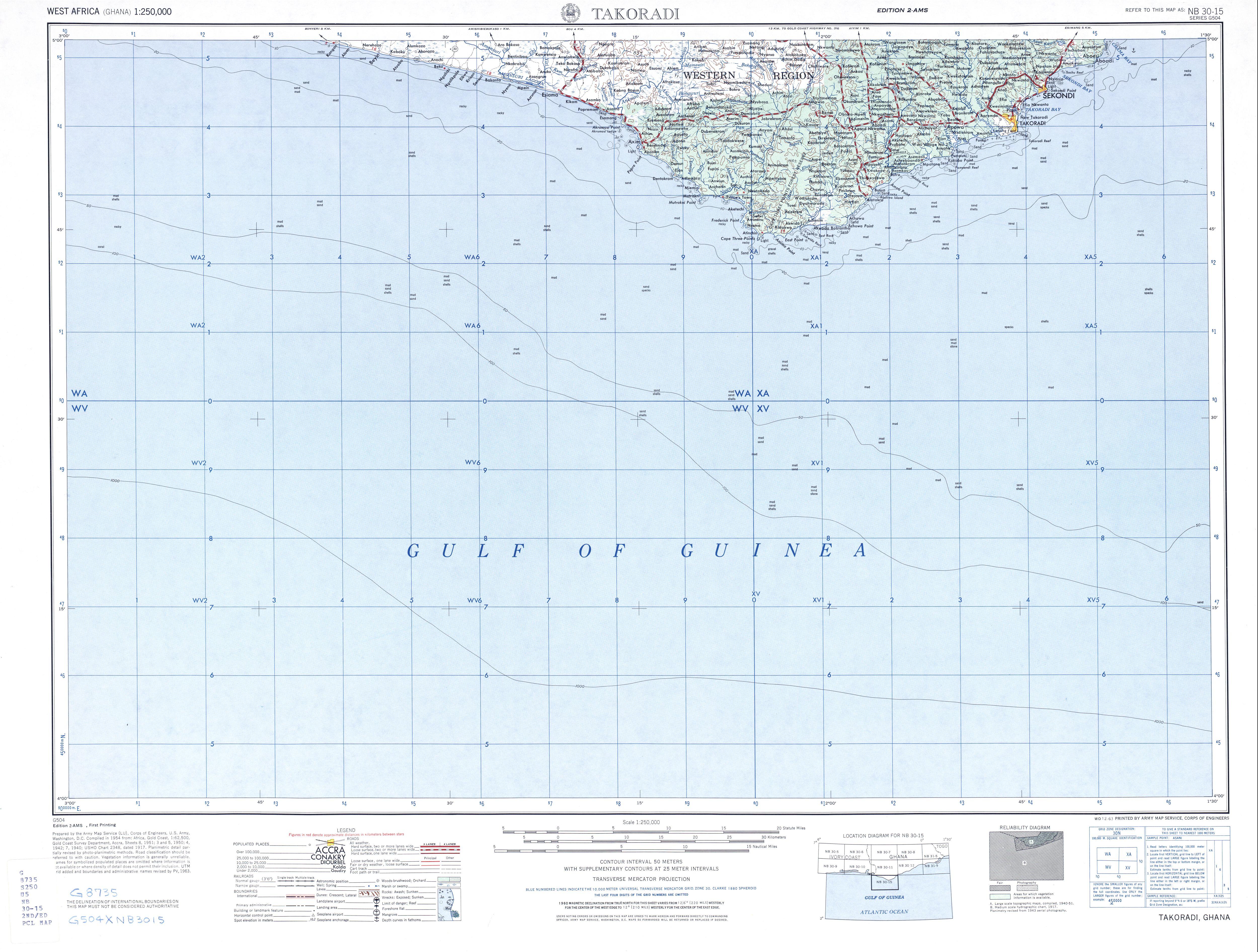 Hoja Takoradi del Mapa Topográfico de África Occidental 1955