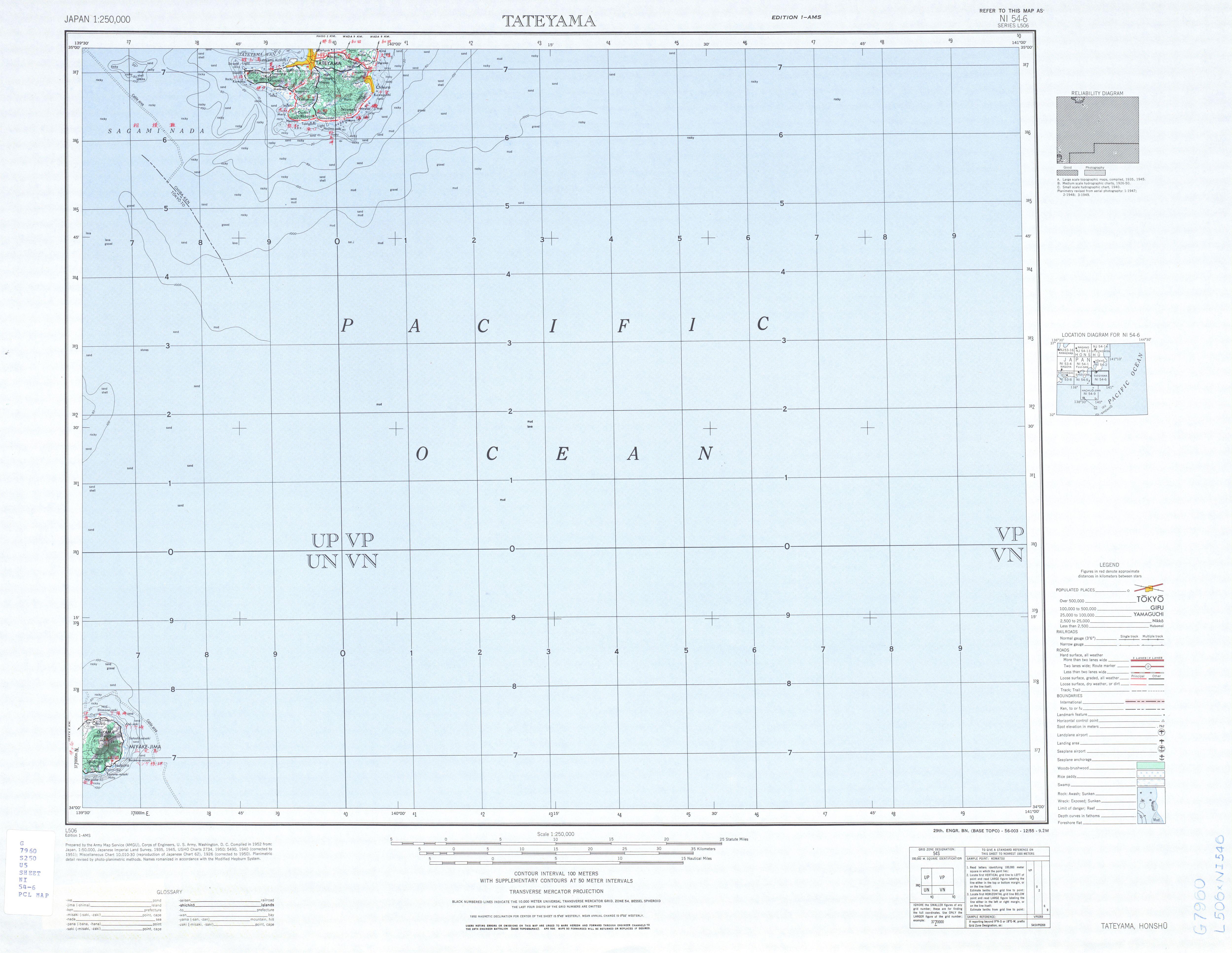 Hoja Tateyama del Mapa Topográfico de Japón 1954