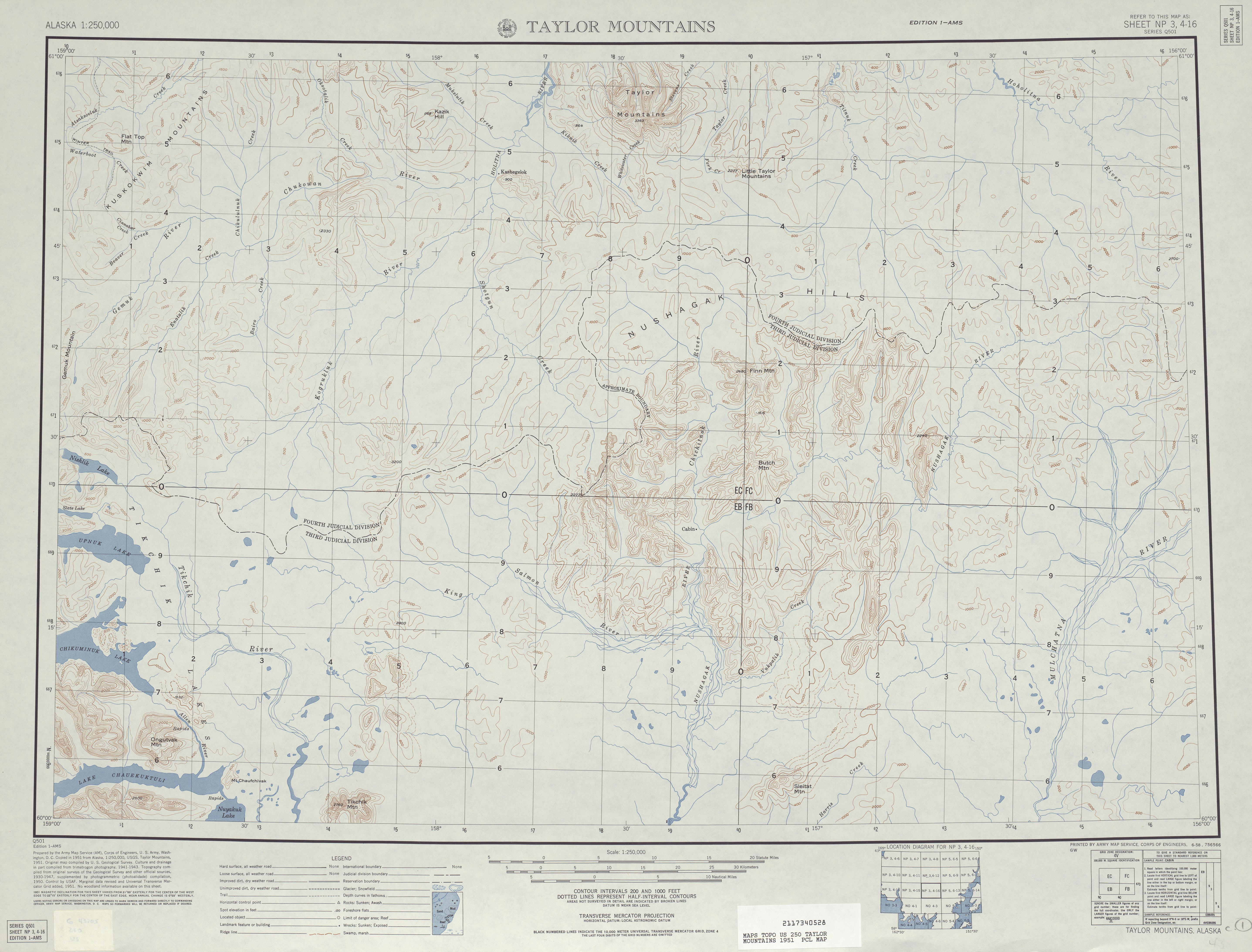 Hoja Taylor Mountains del Mapa Topográfico de los Estados Unidos 1951
