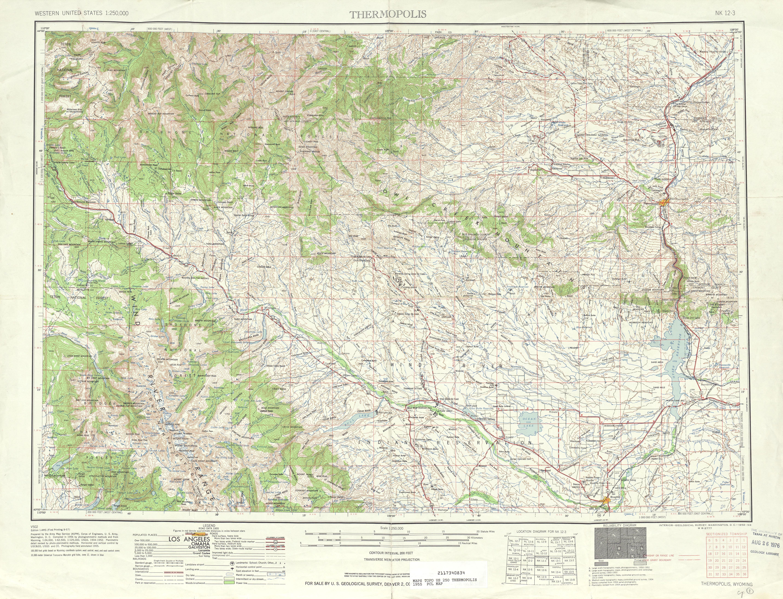 Hoja Thermopolis del Mapa Topográfico de los Estados Unidos 1955