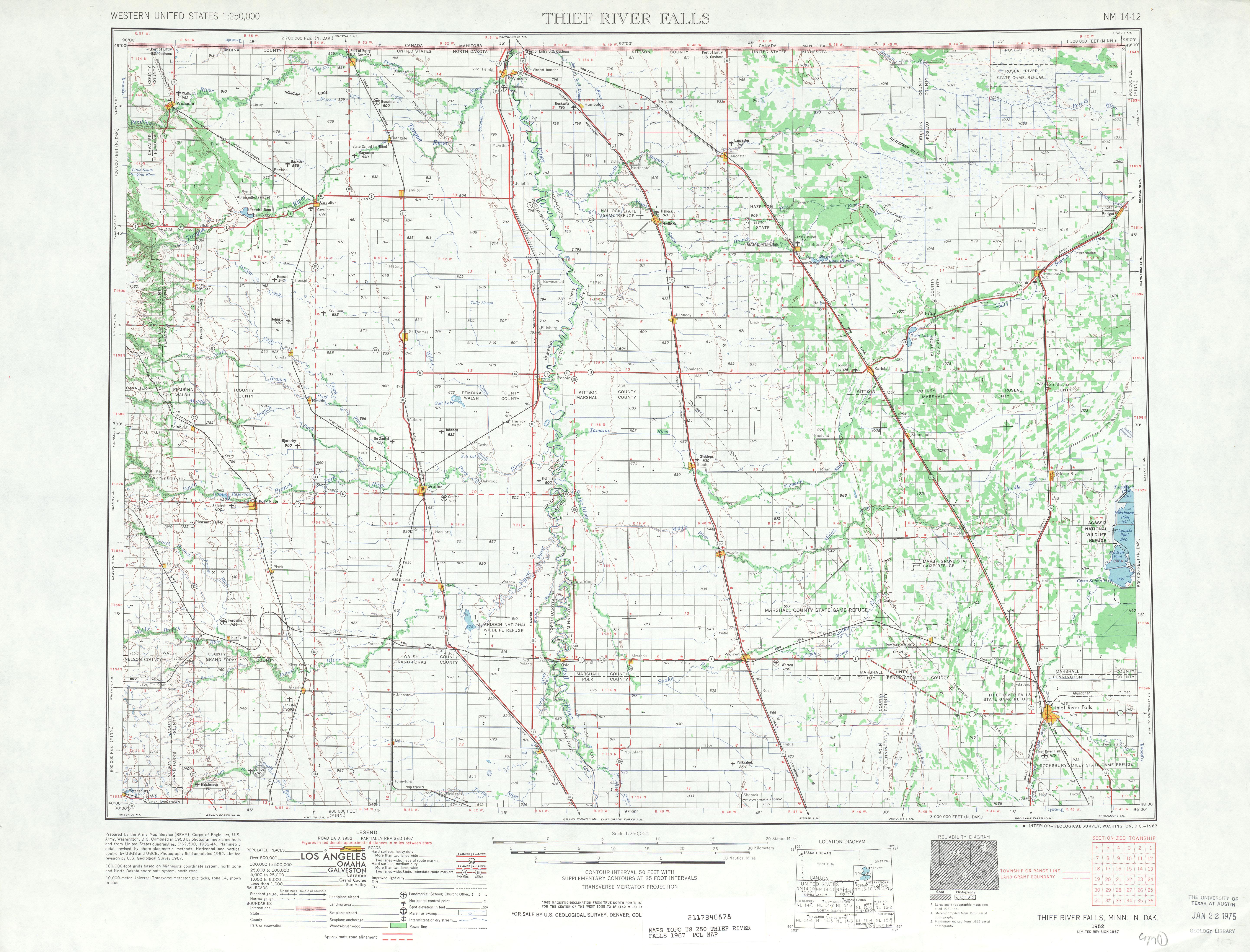 Hoja Thief River Falls del Mapa Topográfico de los Estados Unidos 1967