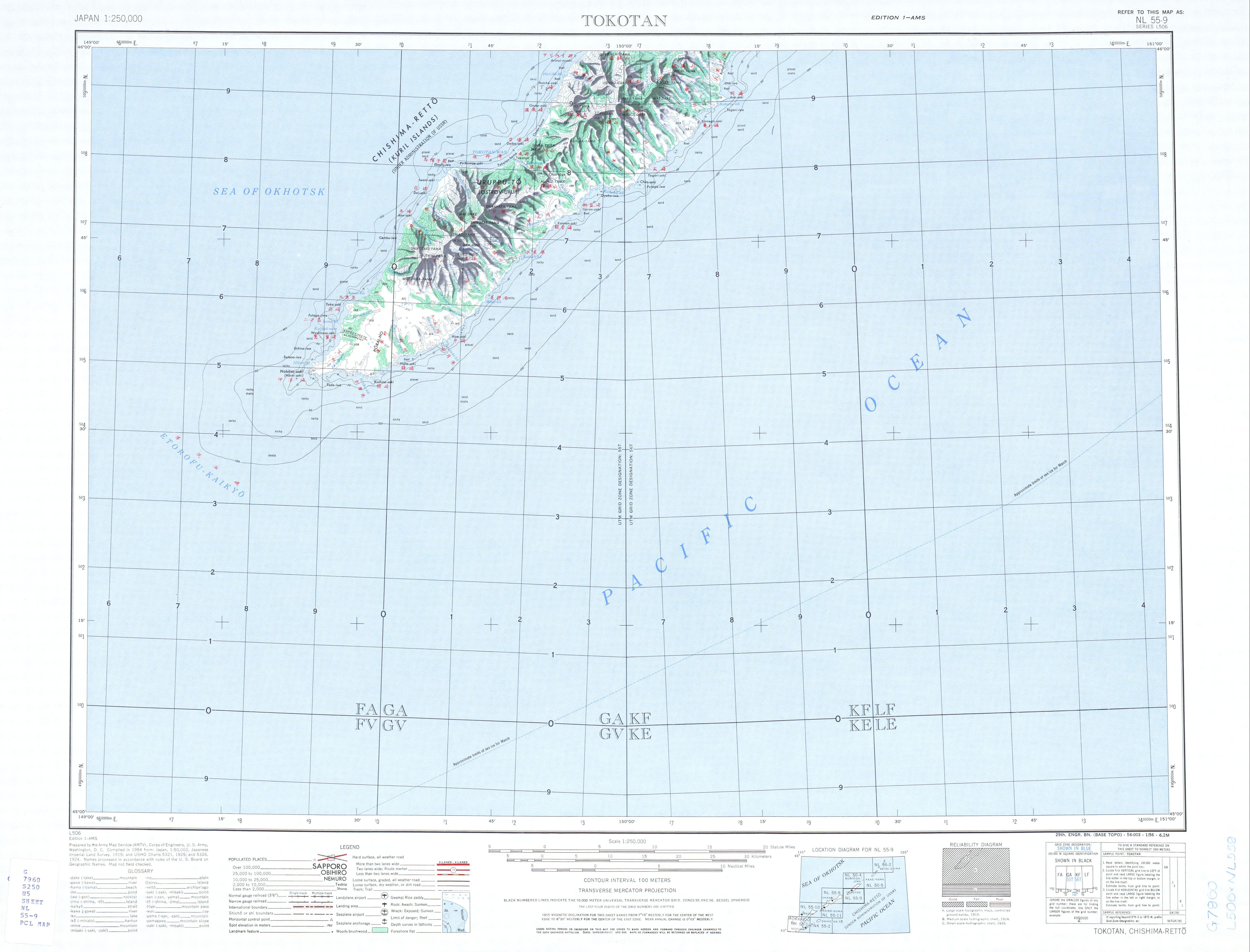 Hoja Tokotan del Mapa Topográfico de Japón 1954