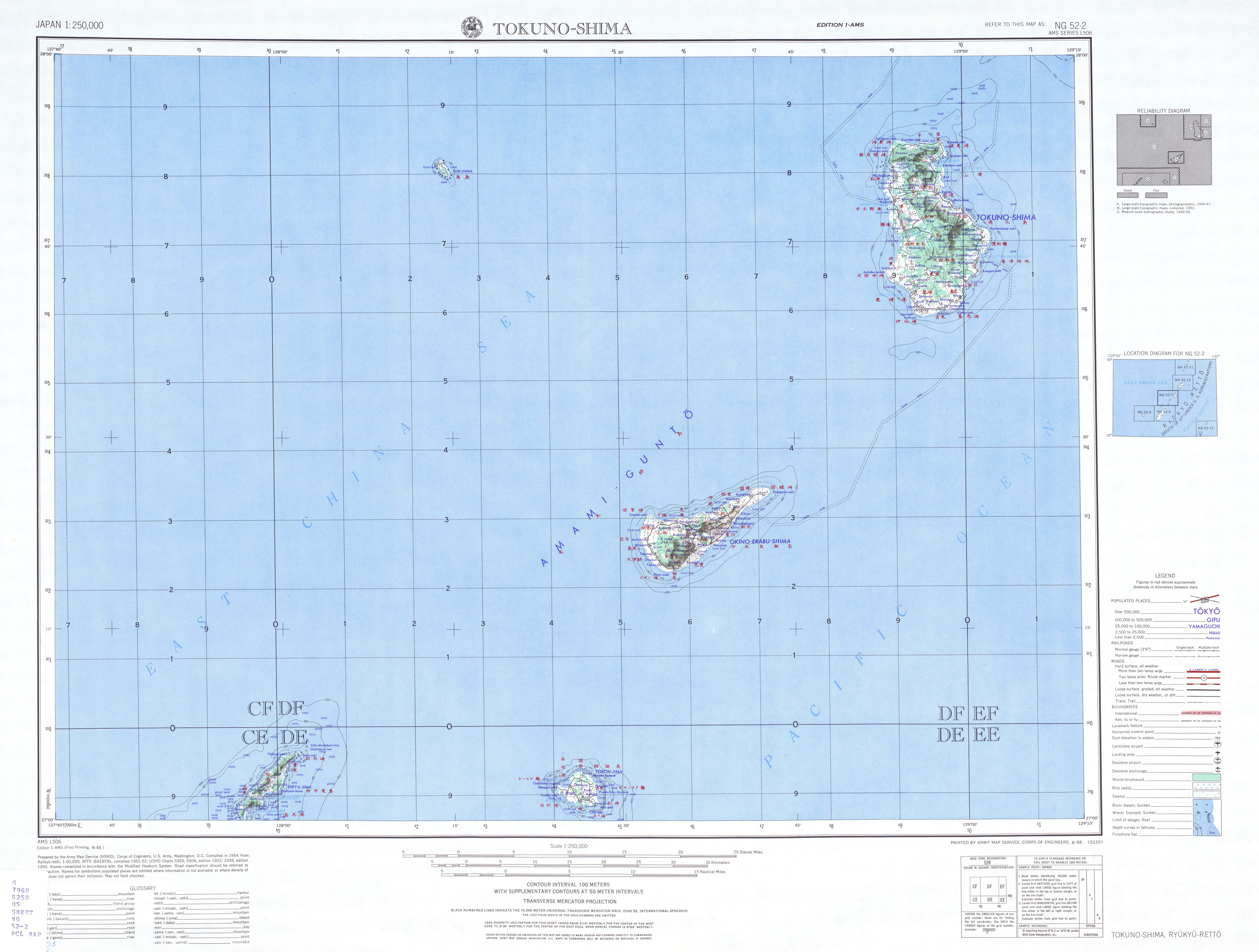 Tokuno-Shima Topographic Map Sheet, Japan 1954