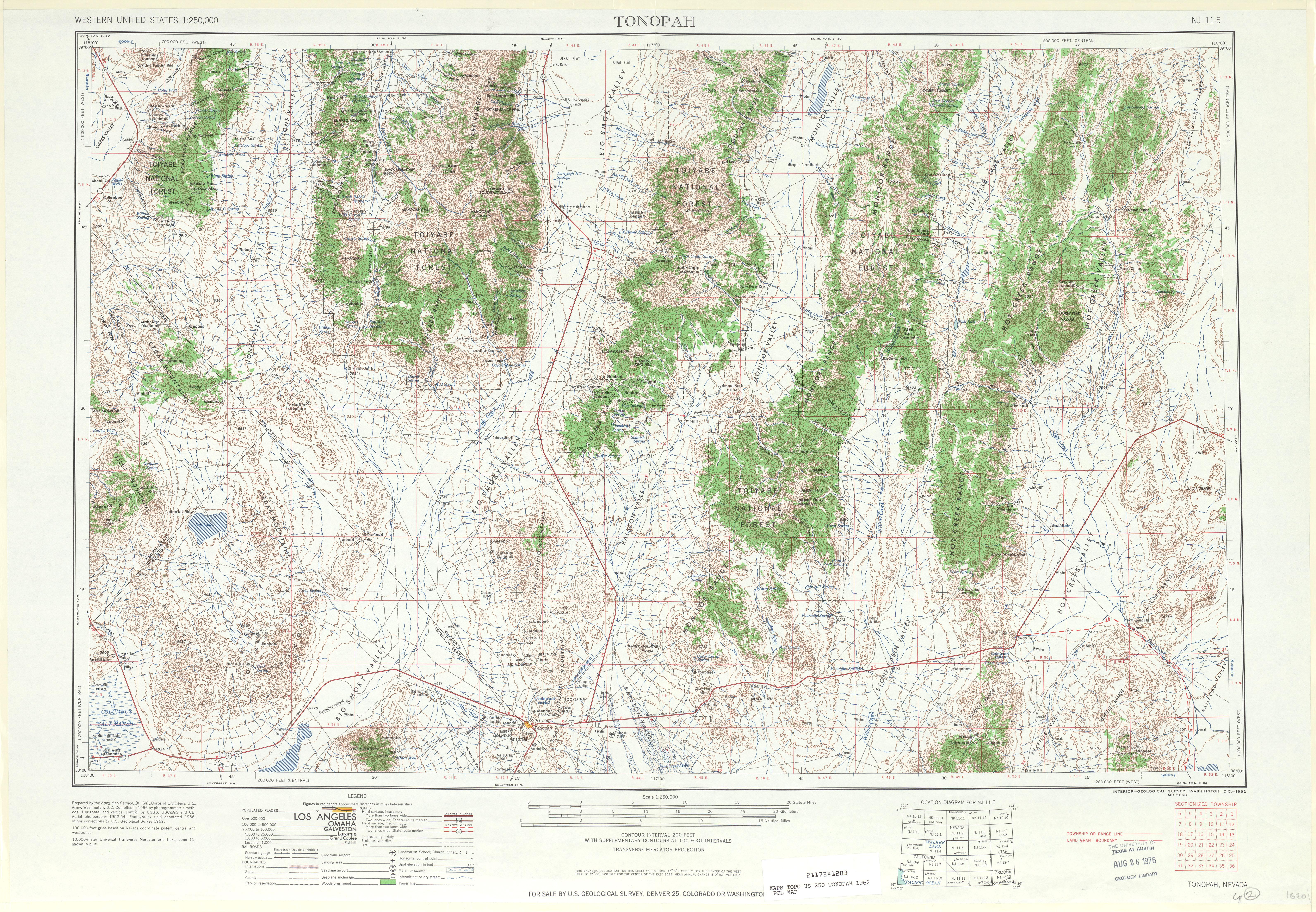 Hoja Tonopah del Mapa Topográfico de los Estados Unidos 1962