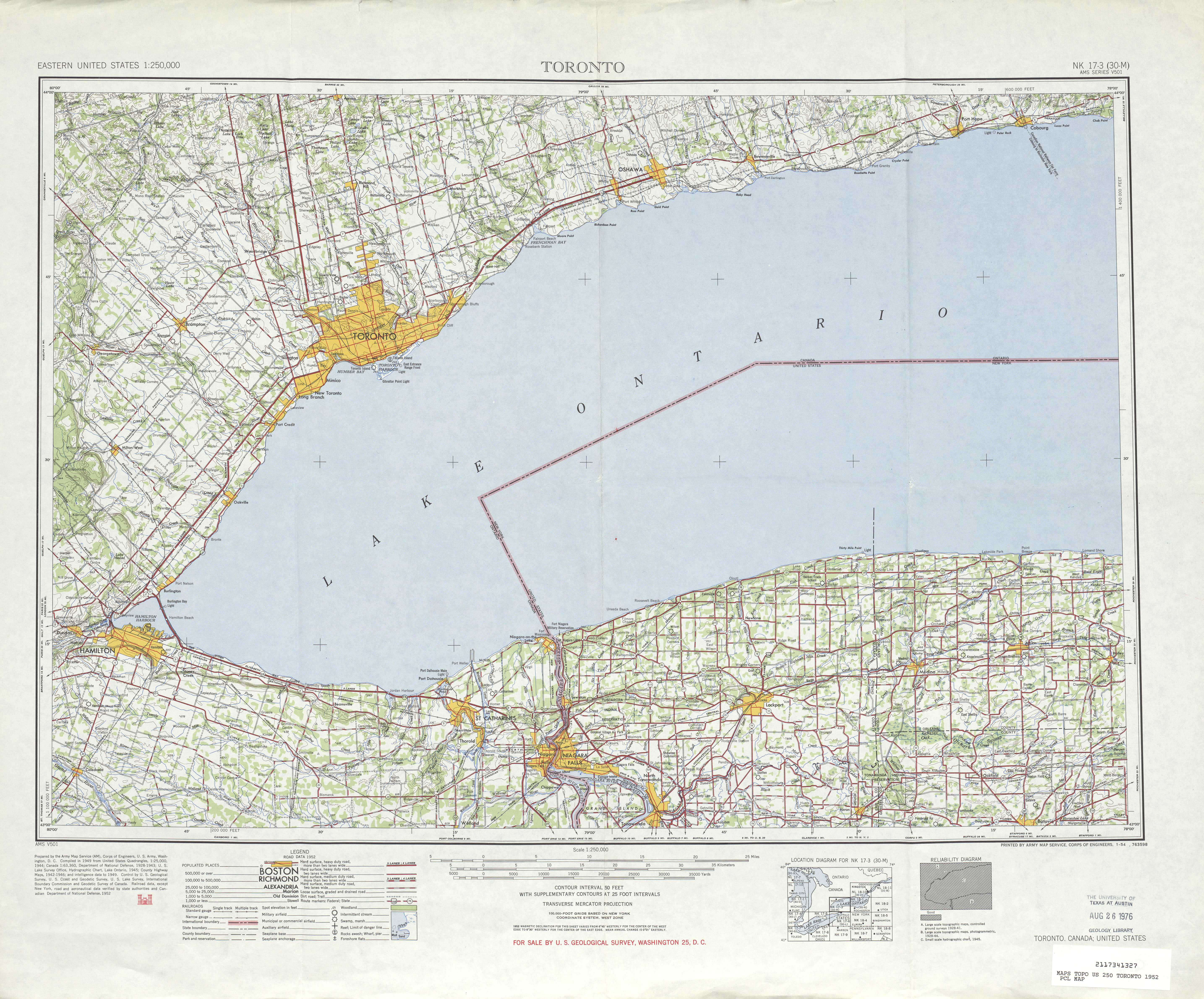 Toronto Topographic Map Sheet, United States 1952