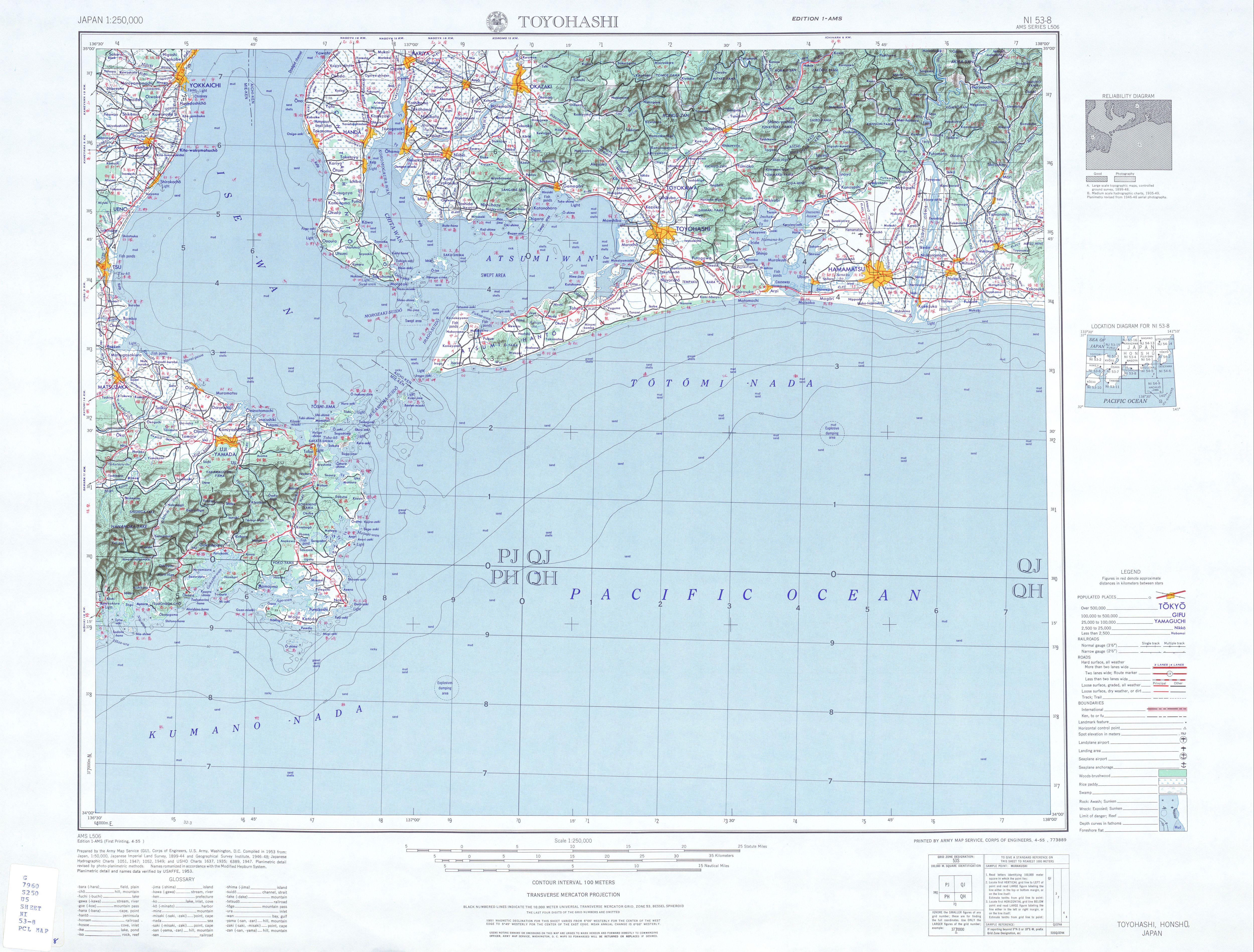 Hoja Toyohashi del Mapa Topográfico de Japón 1954
