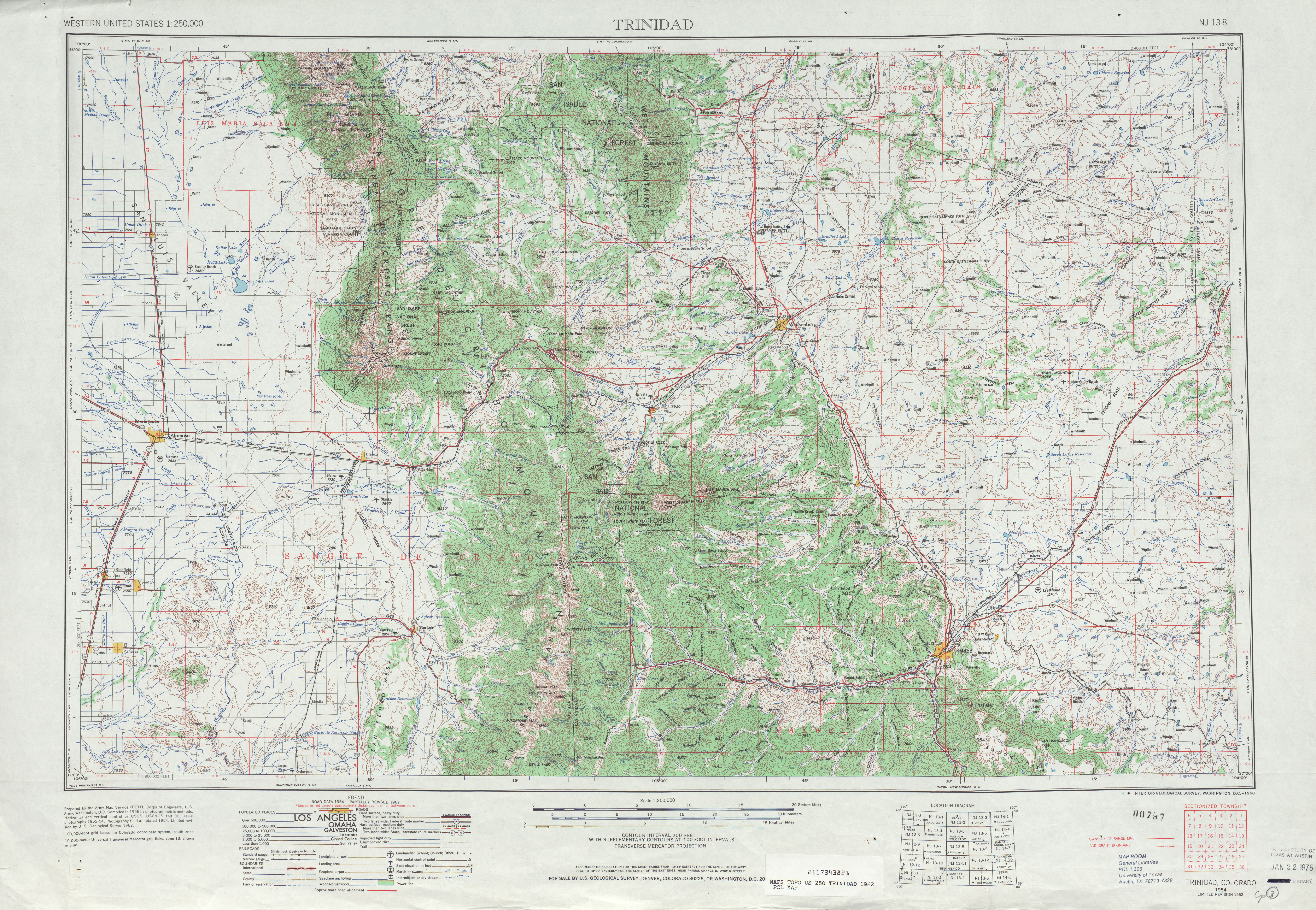 Trinidad Topographic Map Sheet, United States 1962