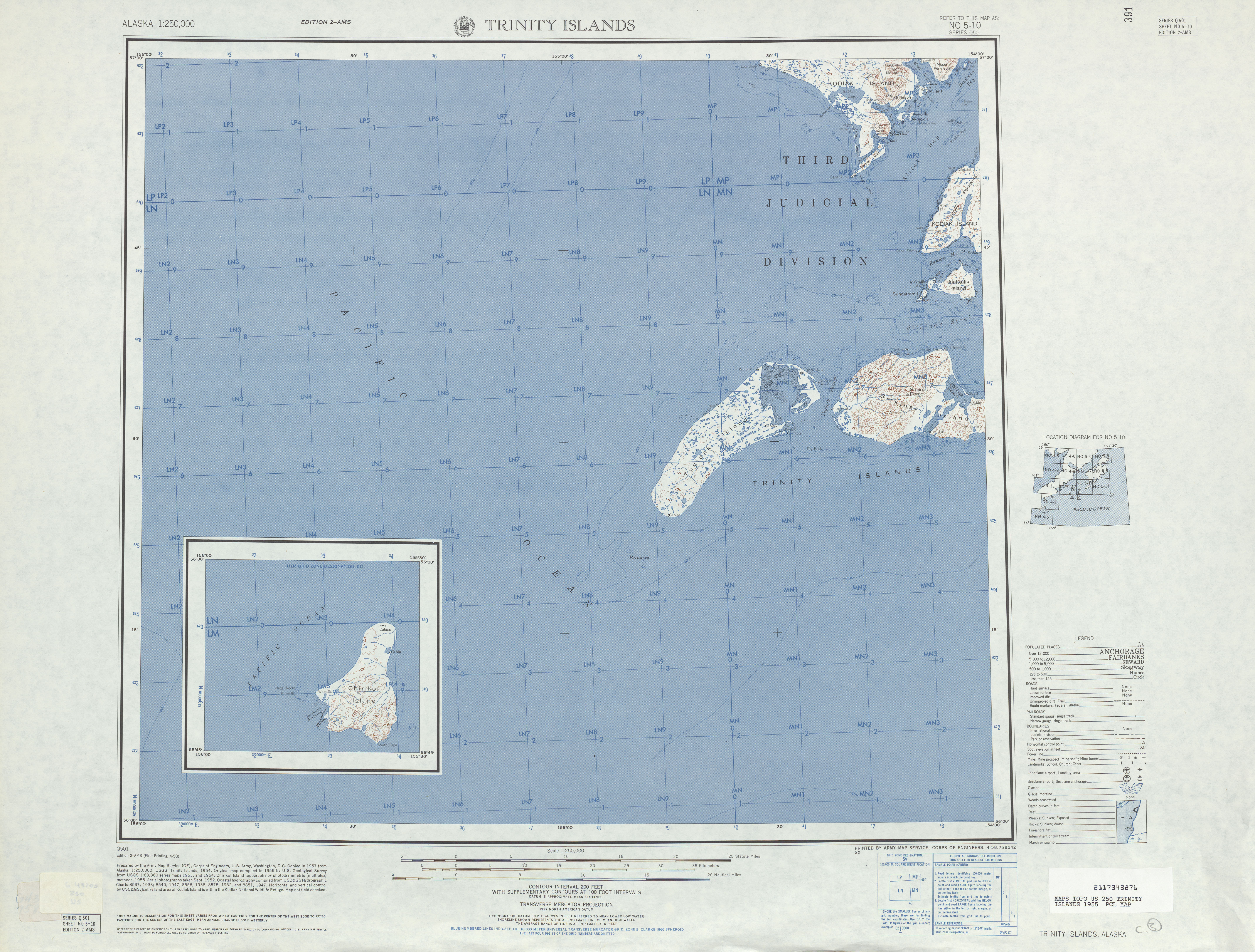 Hoja Trinity Islands del Mapa Topográfico de los Estados Unidos 1955