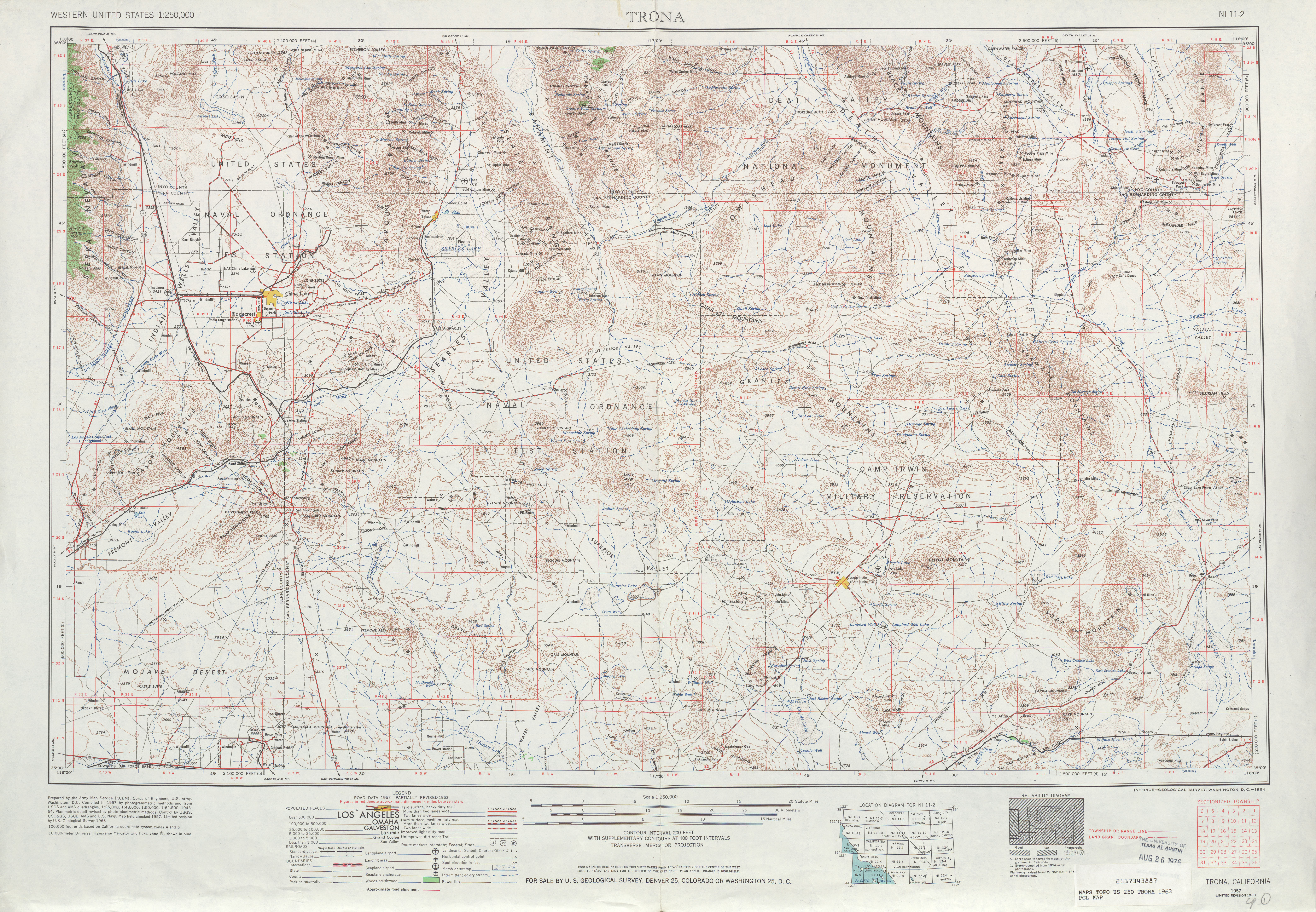 Trona Topographic Map Sheet, United States 1963