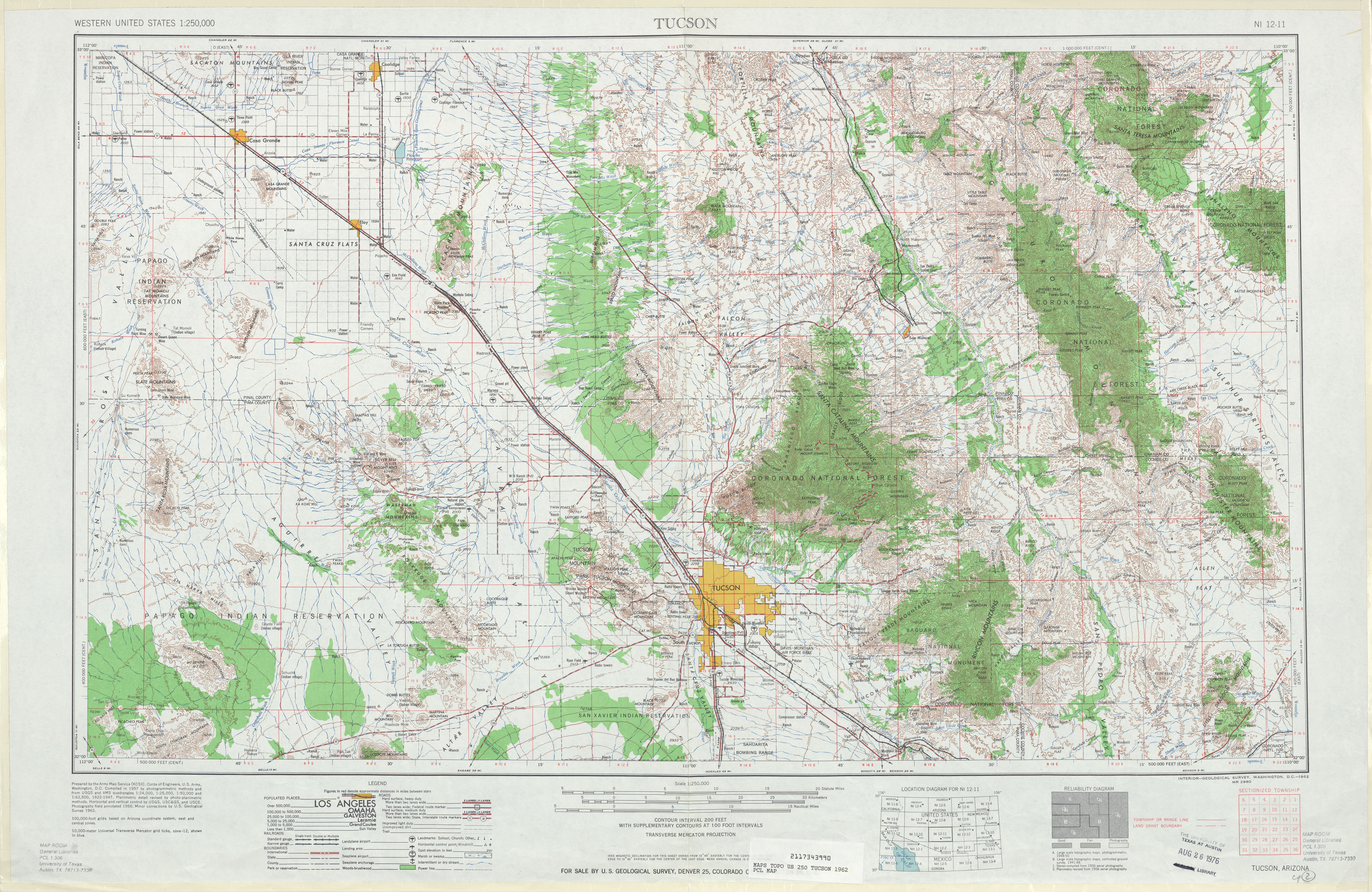 Tucson Topographic Map Sheet, United States 1962