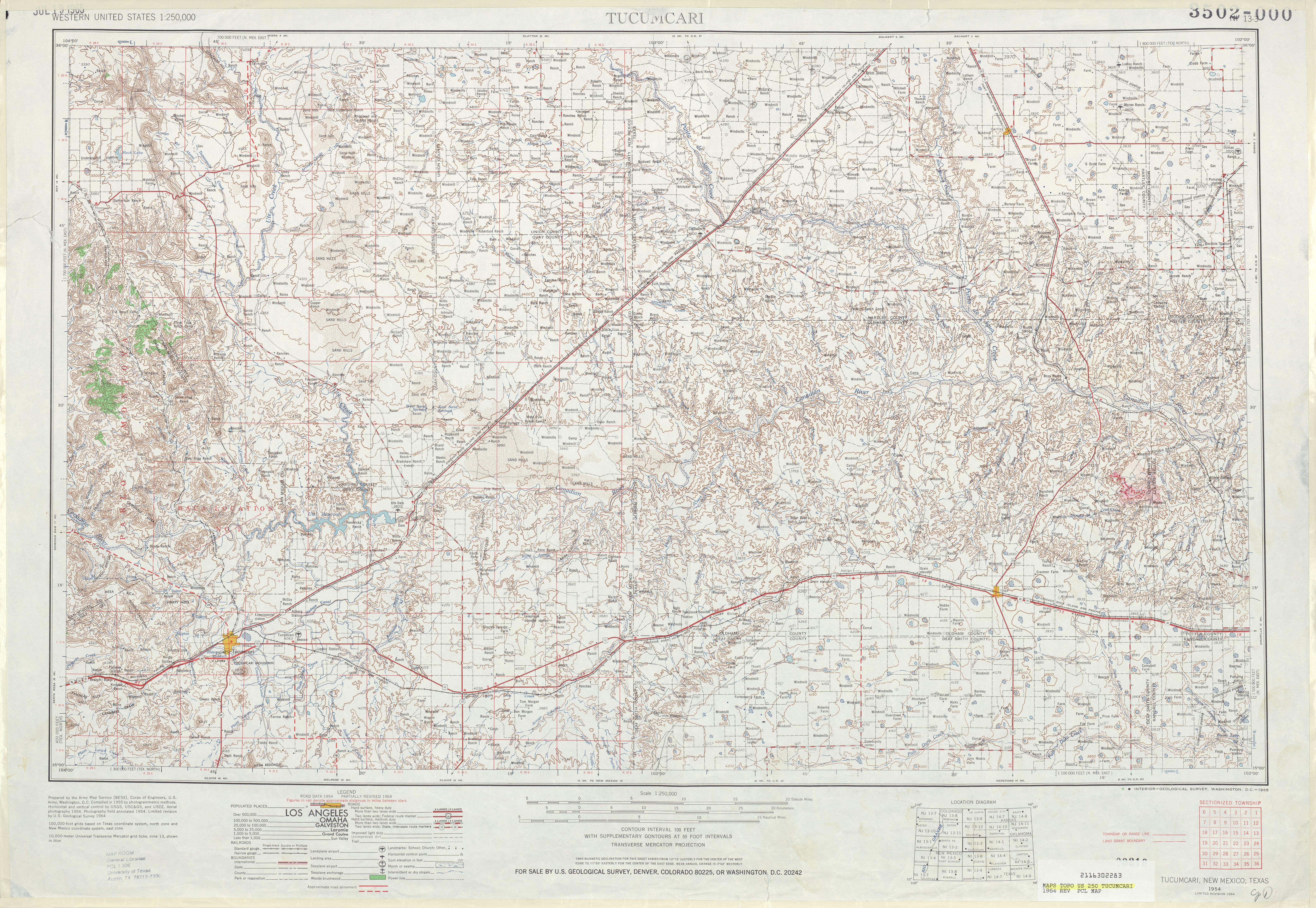 Hoja Tucumcari del Mapa Topográfico de los Estados Unidos 1964