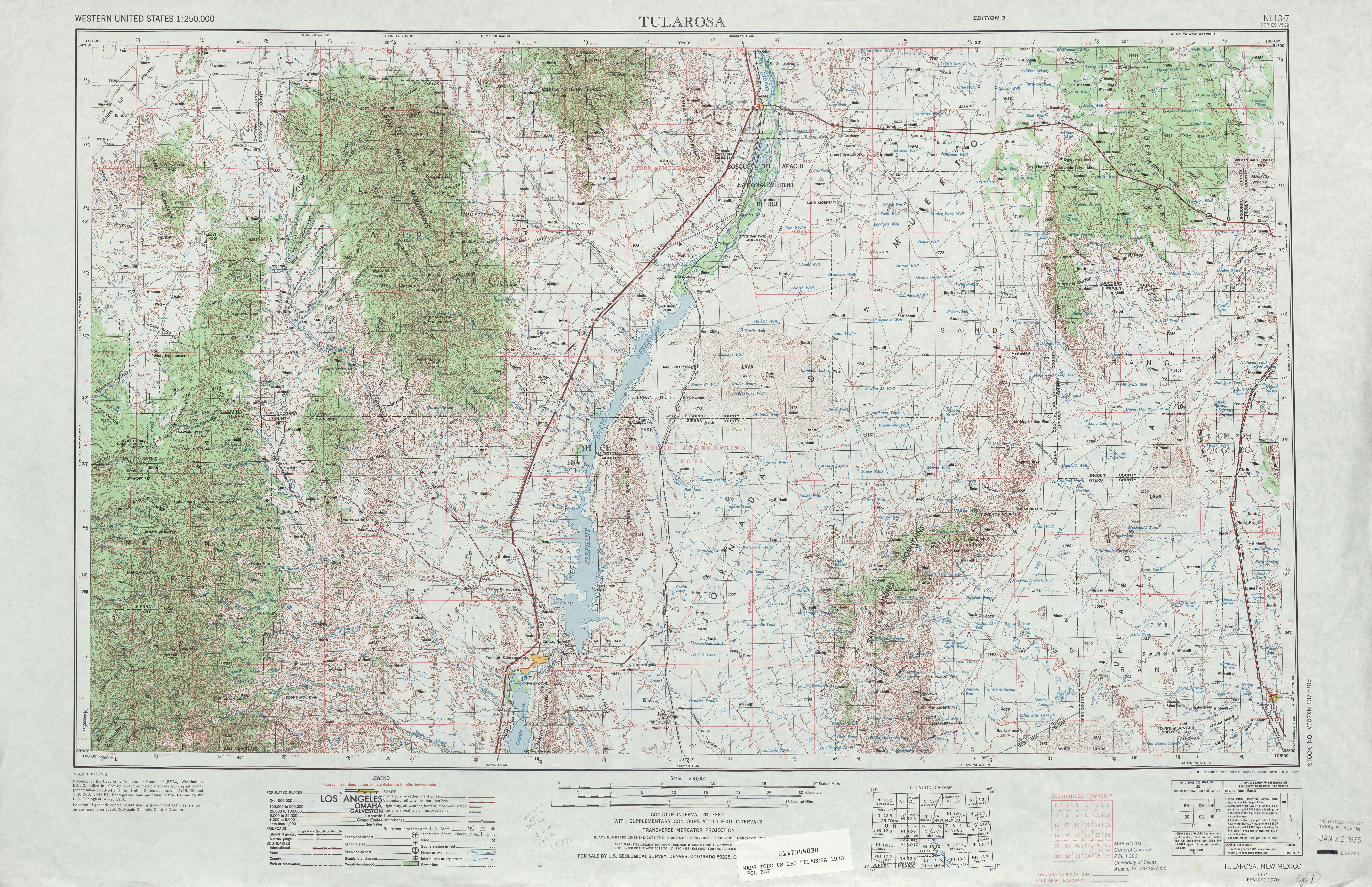 Tularosa Topographic Map Sheet, United States 1970