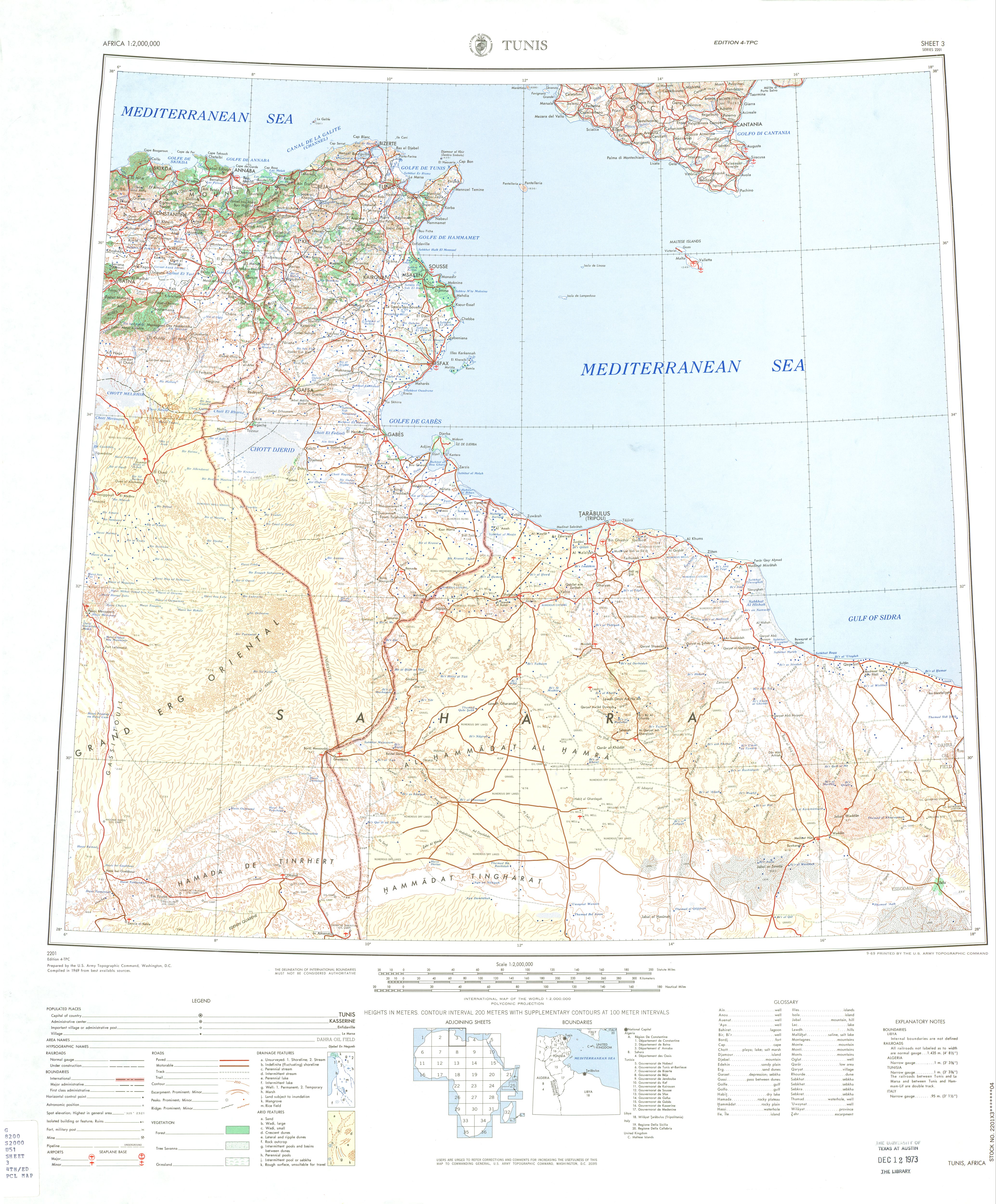 Tunis Topographic Sheet Map, Africa 1969