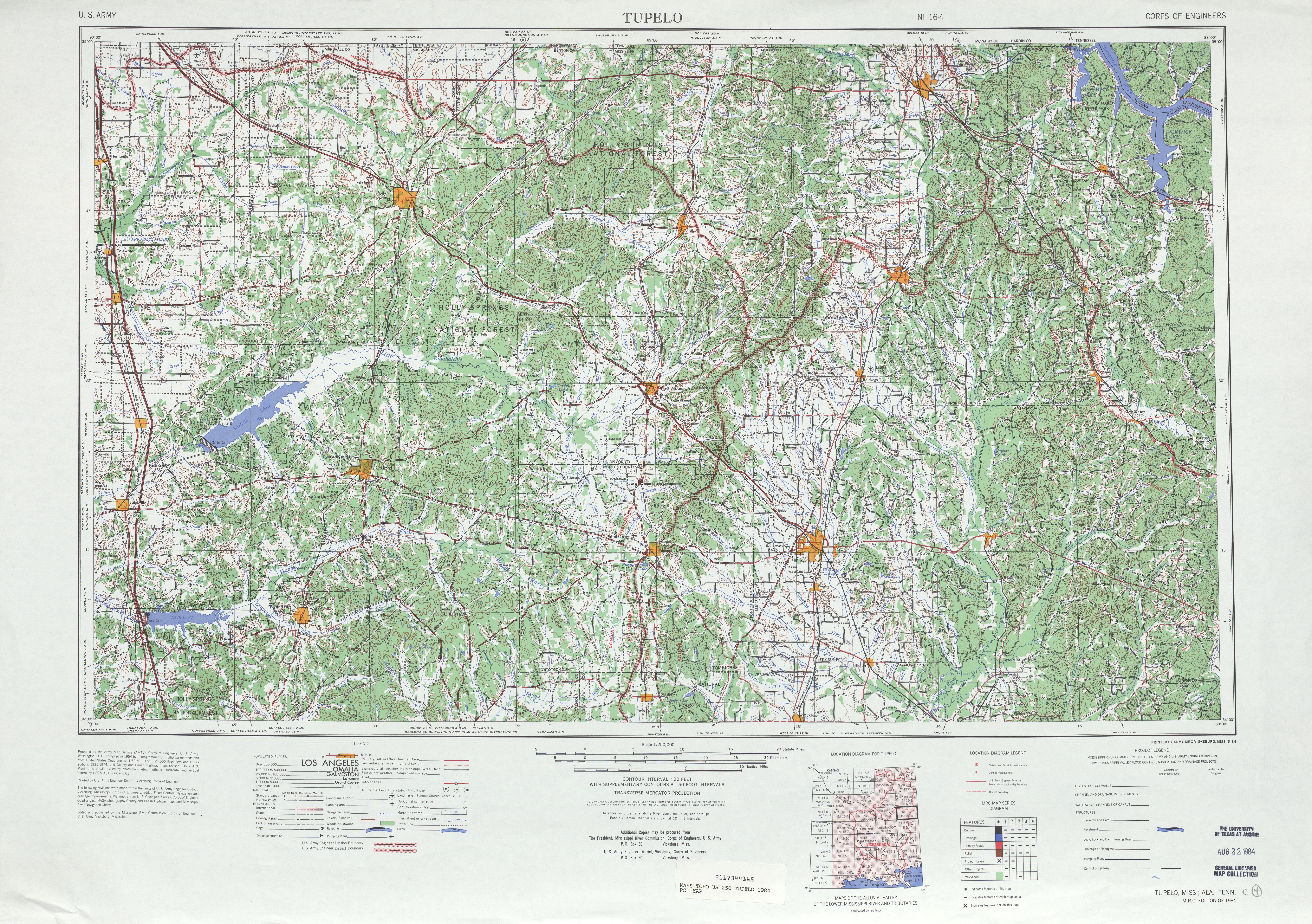 Hoja Tupelo del Mapa Topográfico de los Estados Unidos 1984
