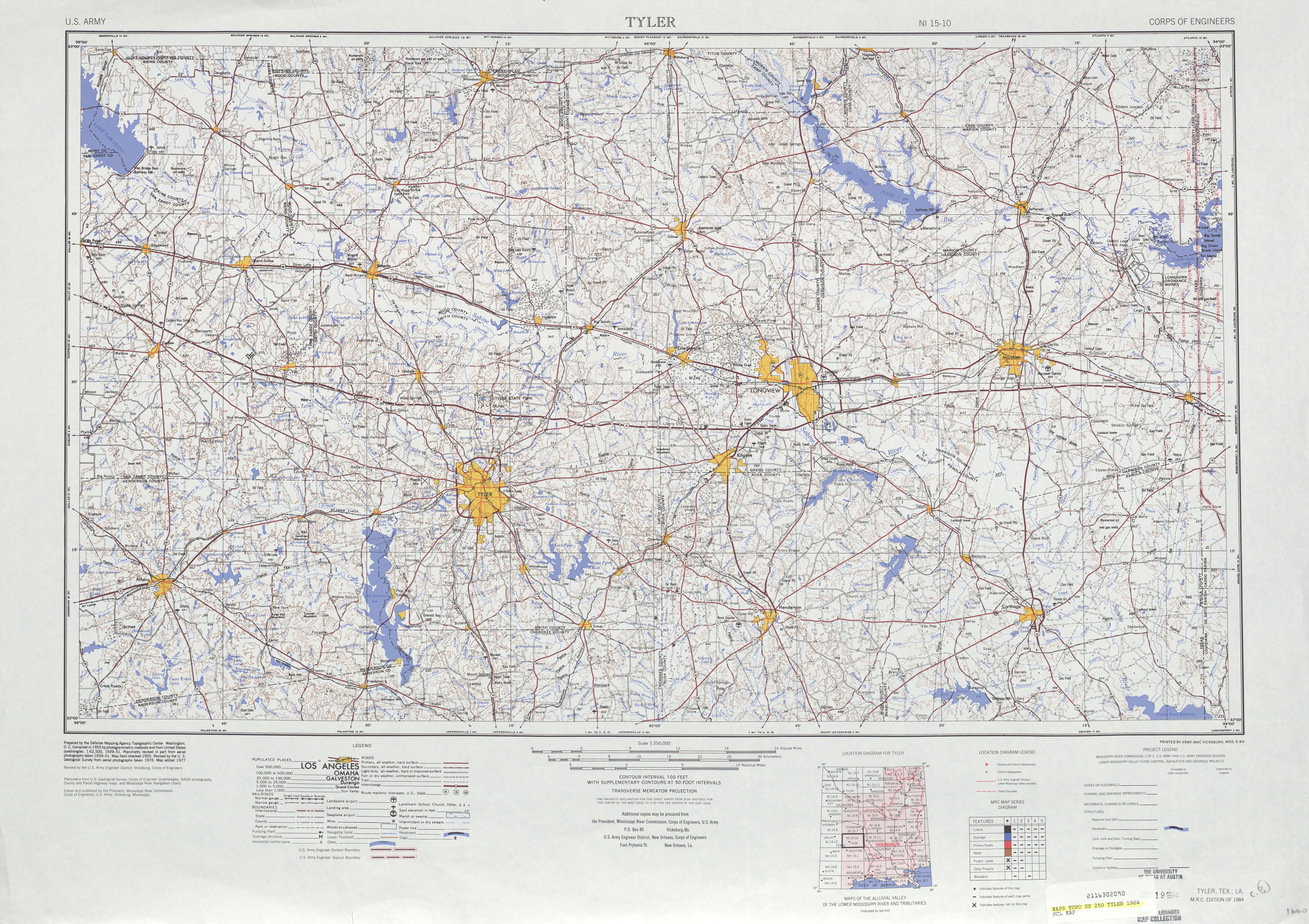 Hoja Tyler del Mapa Topográfico de los Estados Unidos 1984